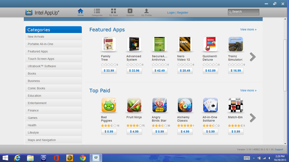 Intel's AppUp store offers no useful software.