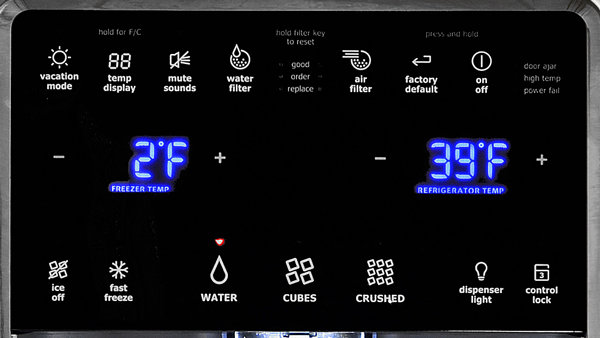 with a button for each different fridge function the controls feature a lot of pictures