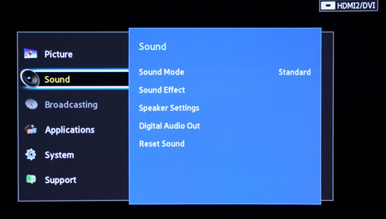 Samsung includes plenty of sound options on the F5300.