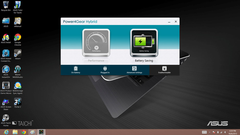 Asus' Power4Gear software allows users to change display and battery settings.