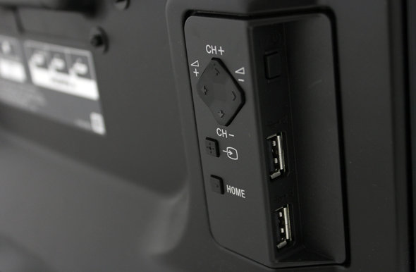 On-set controls are located on the back-right, next to the ports.