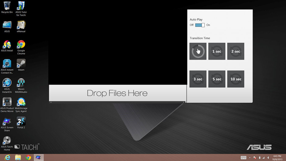 The Screen Share app extends your desktop to the touchscreen on the back.