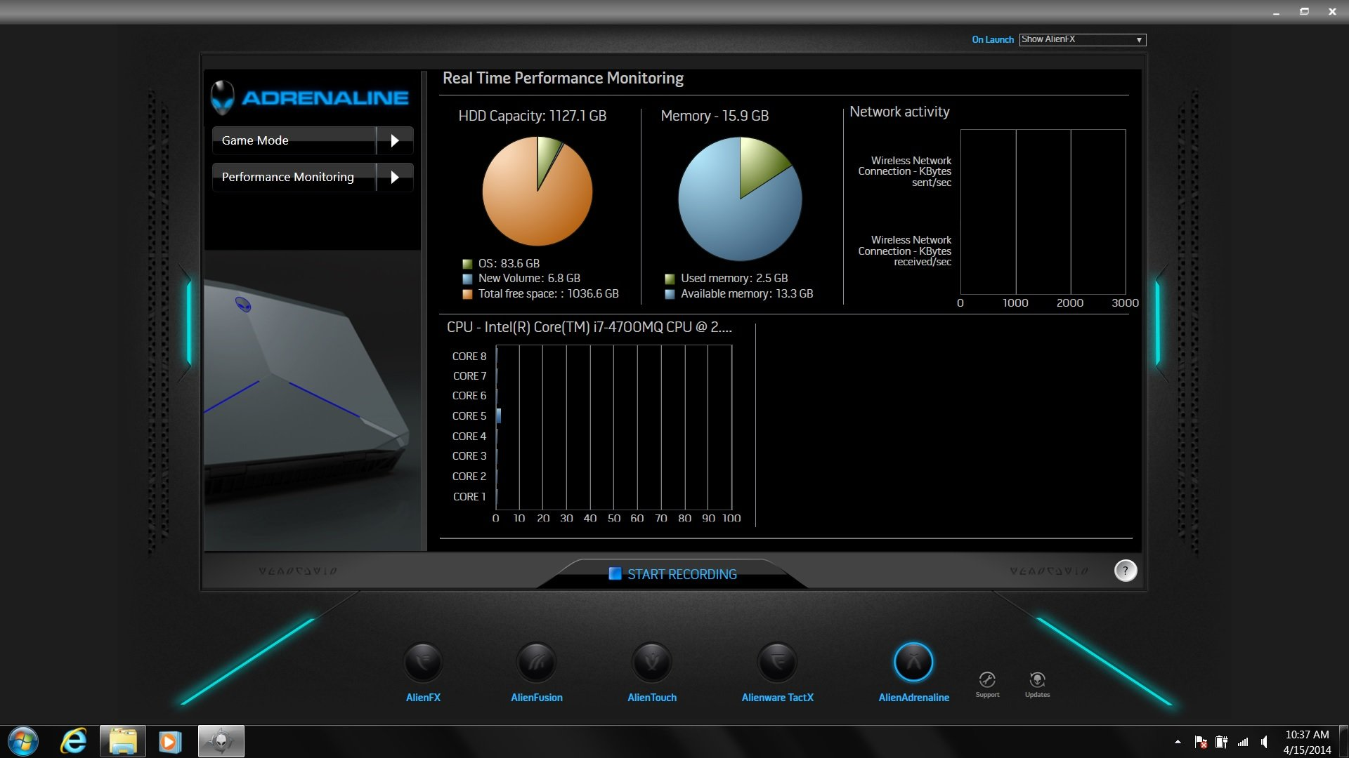 You can also monitor the Alienware 17's performance in AlienAdrenaline.