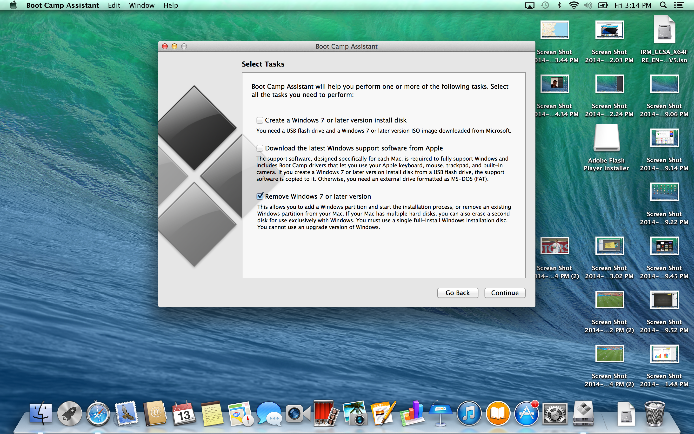 A screenshot of the Apple MacBook Pro with Retina Display's BootCamp software.