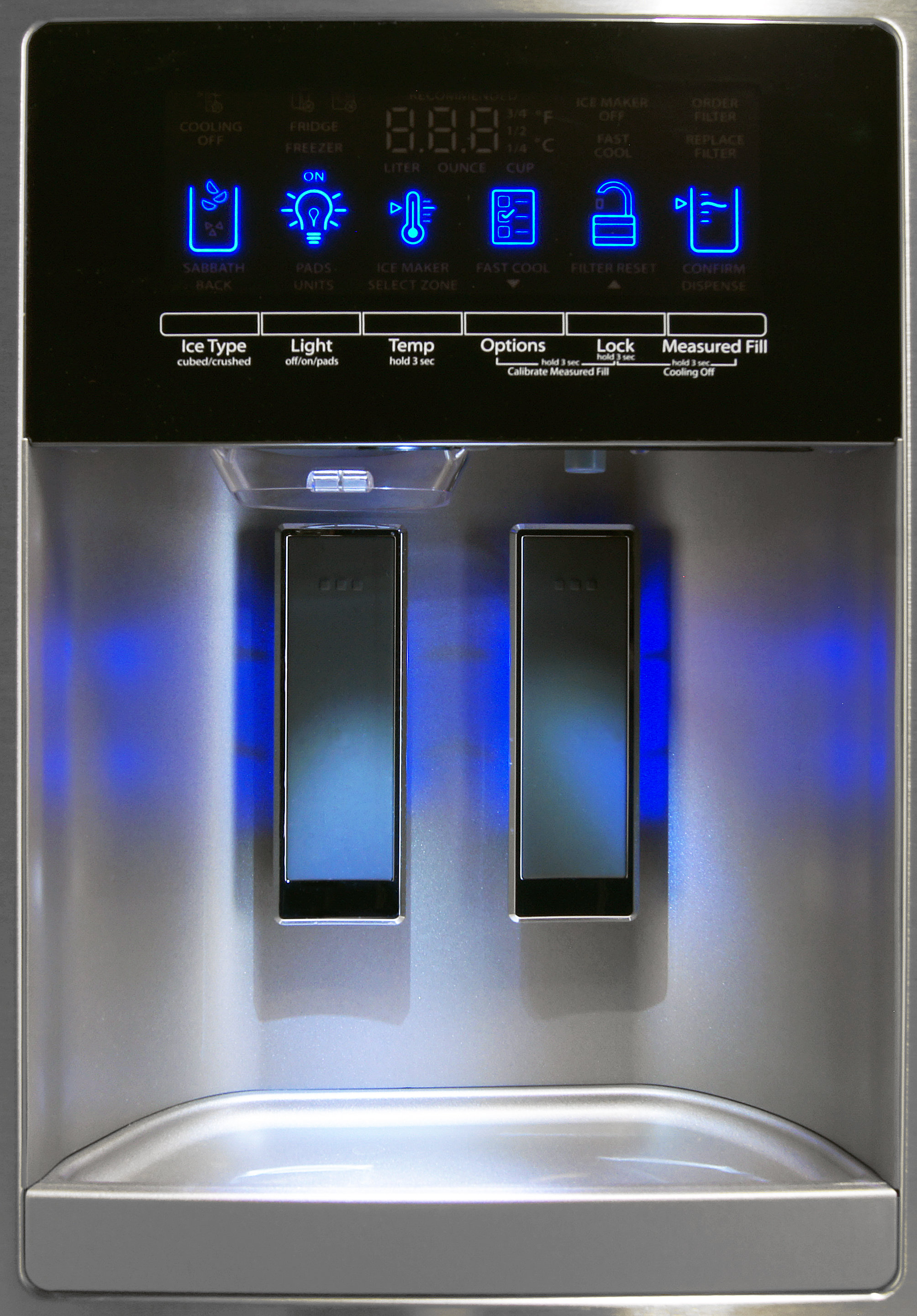 The Whirlpool WRX735SDBM's dual paddle dispenser makes it easy to know what form of water you're getting.