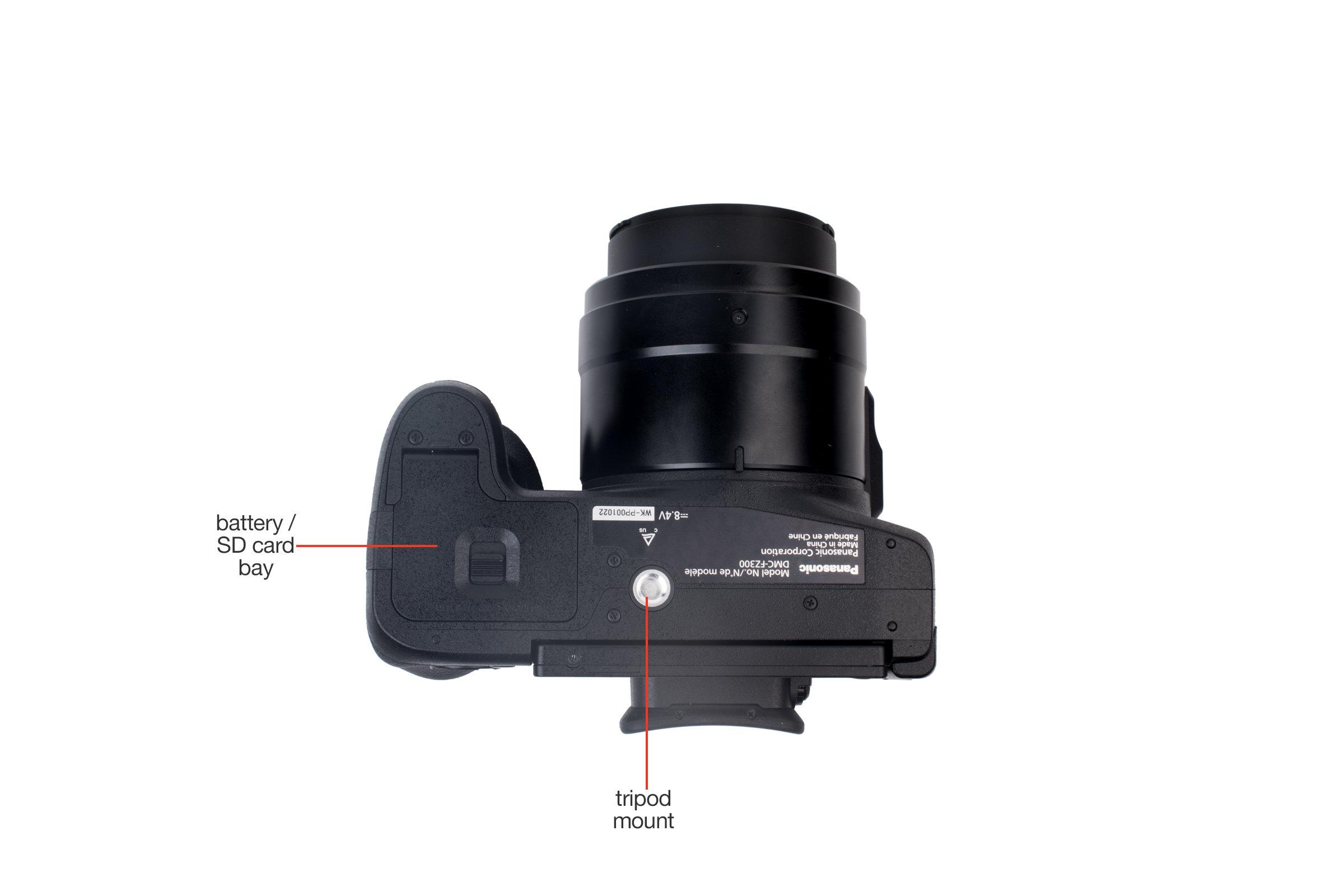 Bottom view of the Panasonic Lumix DMC-FZ300.