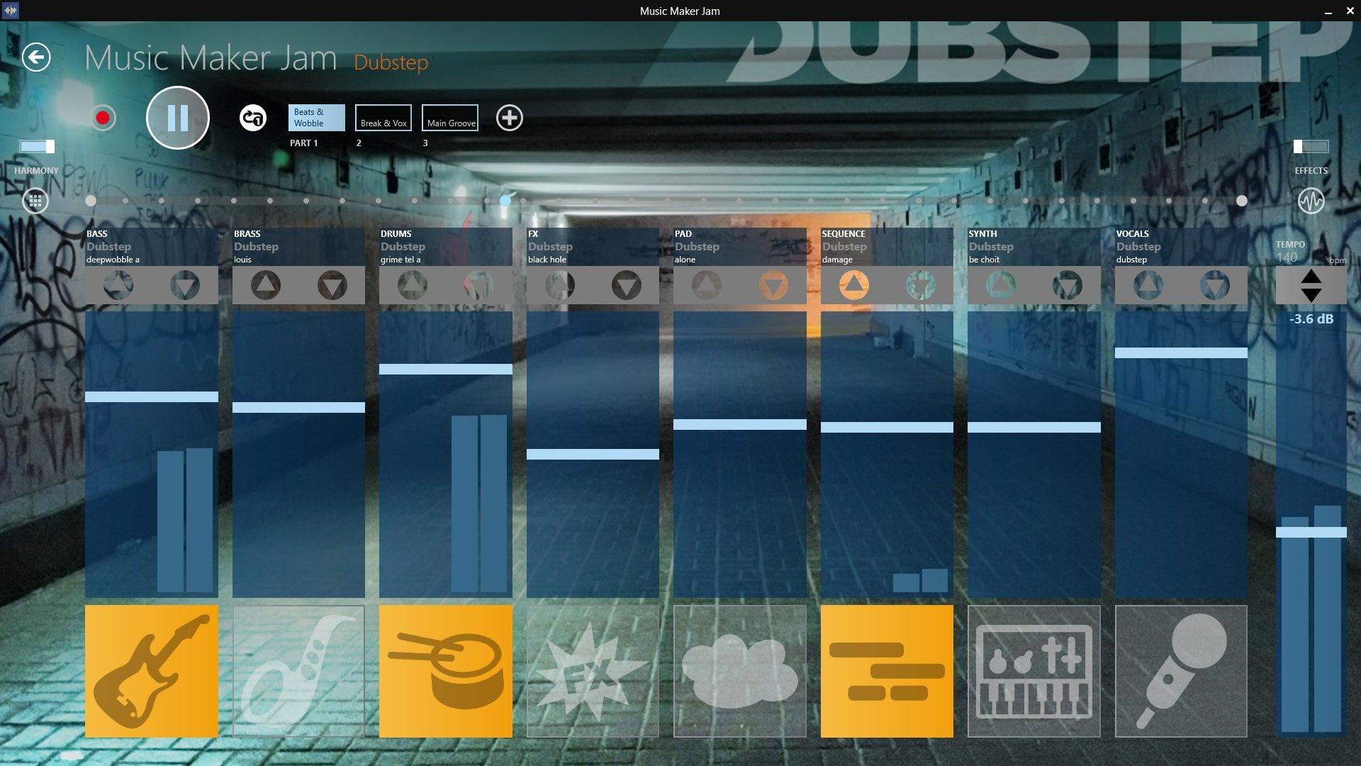 A screenshot of the Music Maker Jam app.