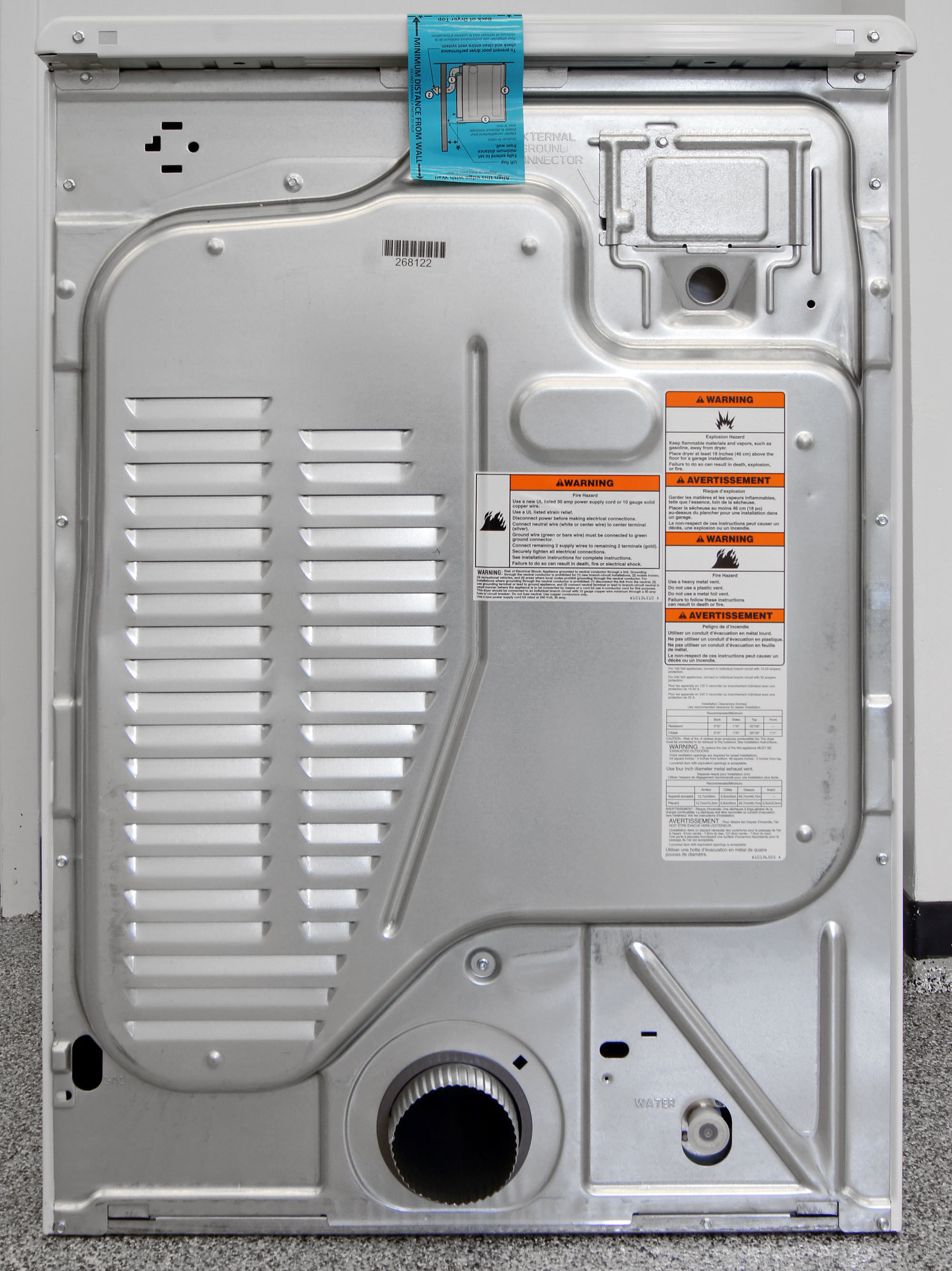While the use of steam is limited, the Maytag Maxima MED5100DW still comes with a water input down by the vent.
