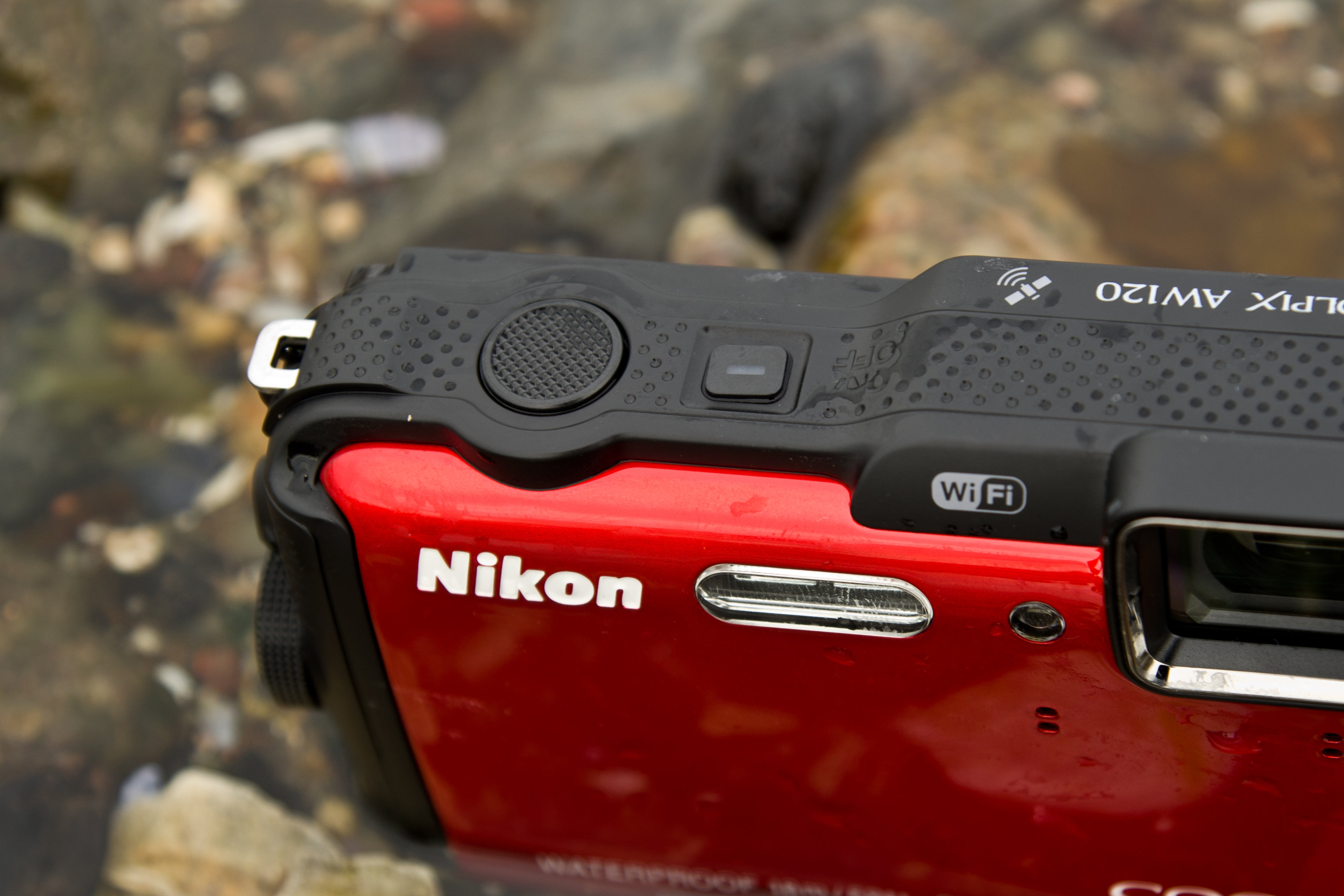 A shot of the Nikon Coolpix AW120's shutter.