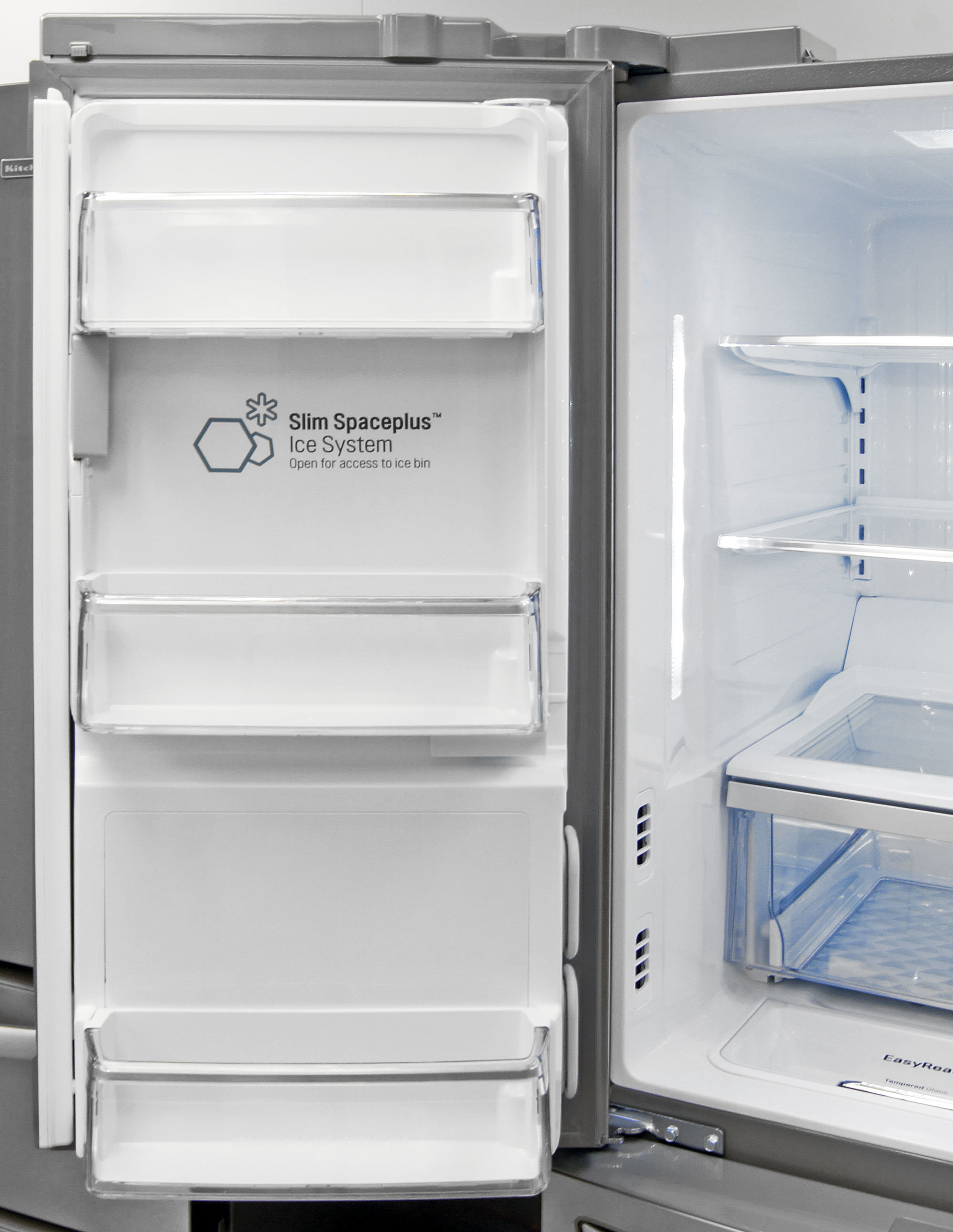 While not gallon-sized, the LG LMXS30776S's left fridge door shelves are deep enough to serve as viable storage.