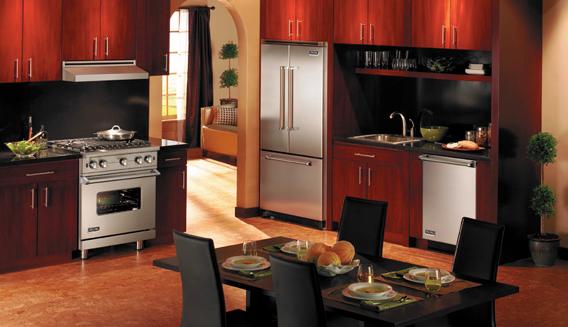 Bold crimson kitchen with Viking Professional appliances.