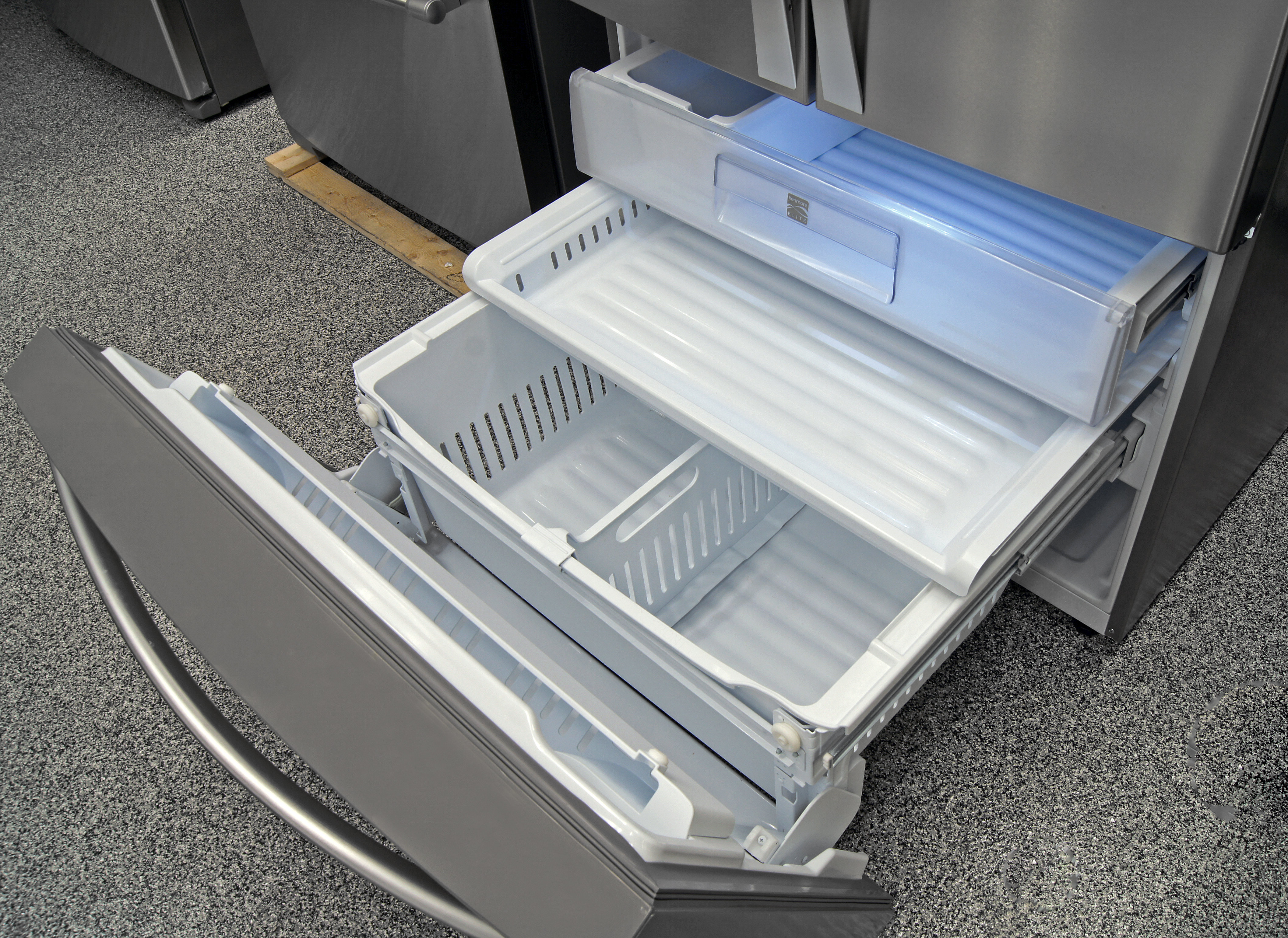 The pull-out freezer door on the Kenmore Elite 74033 tilts forward for easier access.