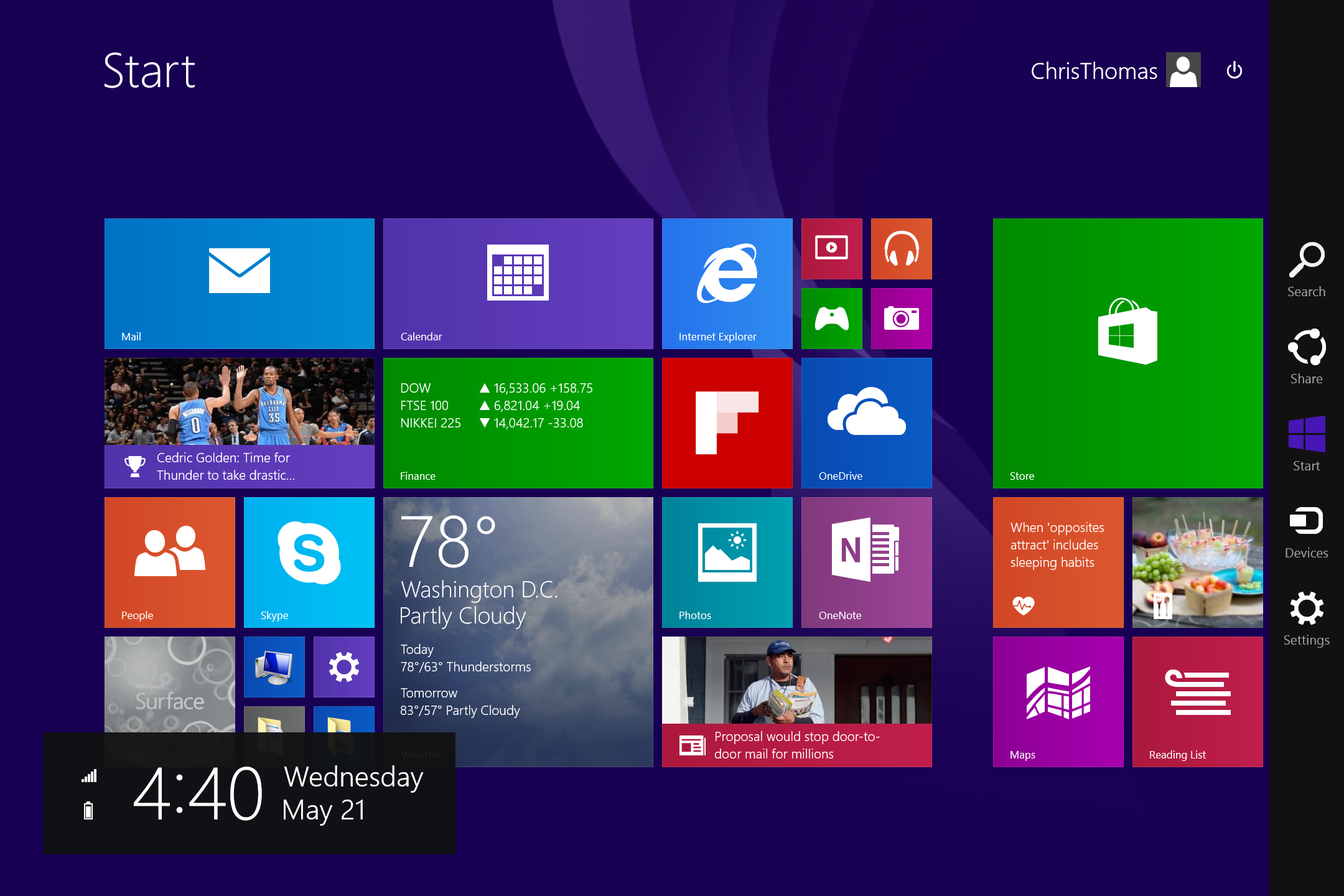 A screenshot of the Microsoft Surface 3's start screen.