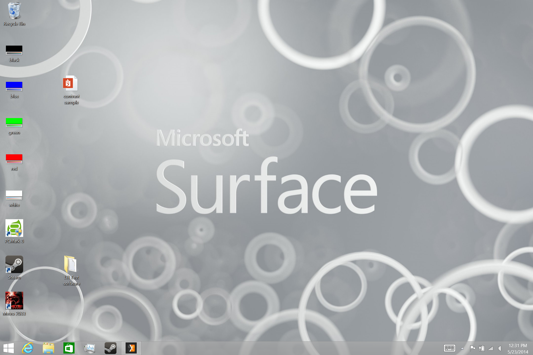A screenshot of the Microsoft Surface 3's legacy desktop.