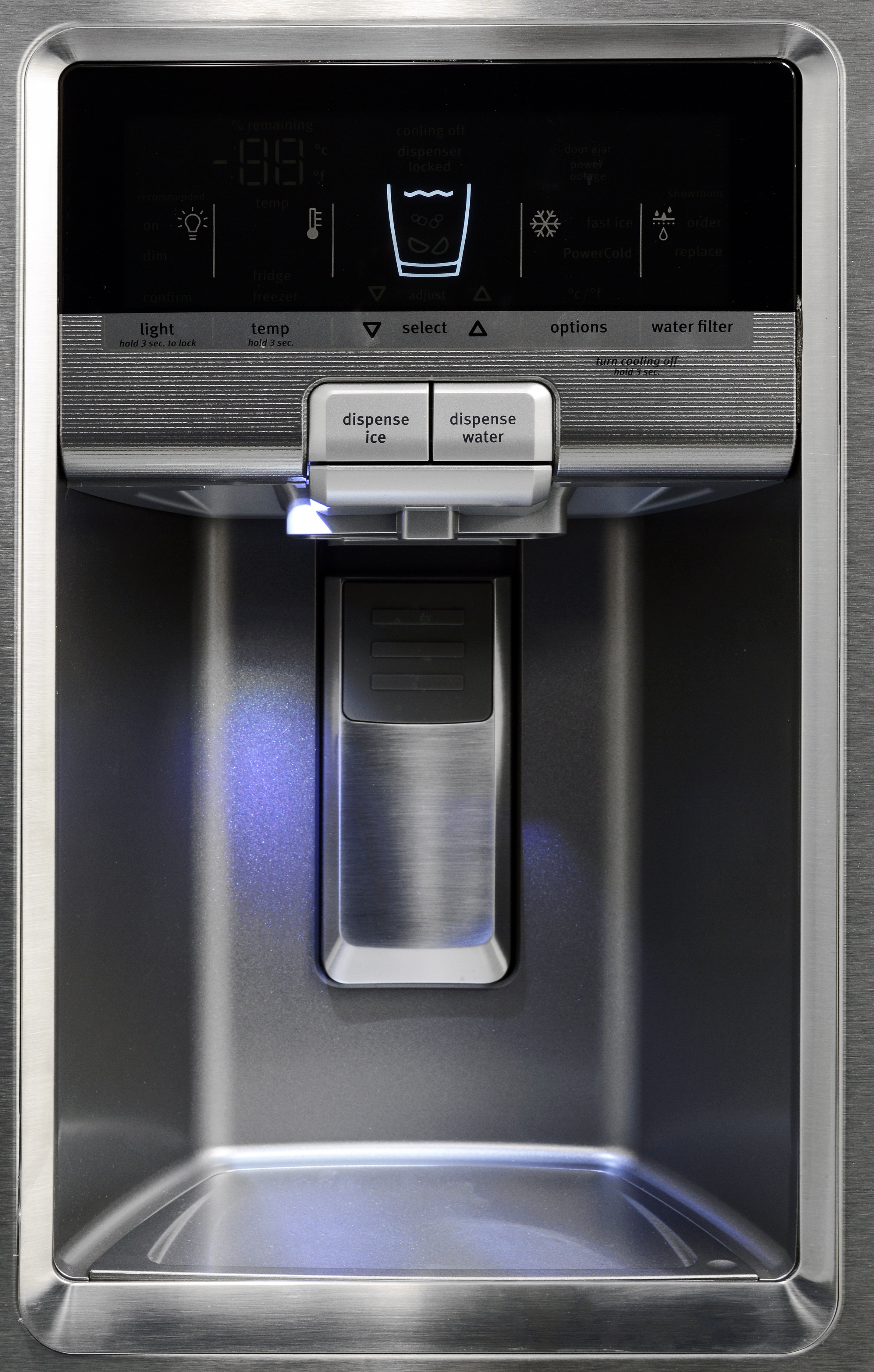 The Maytag MFX2876DRM's tall dispenser can easily accommodate an average drinking glass.