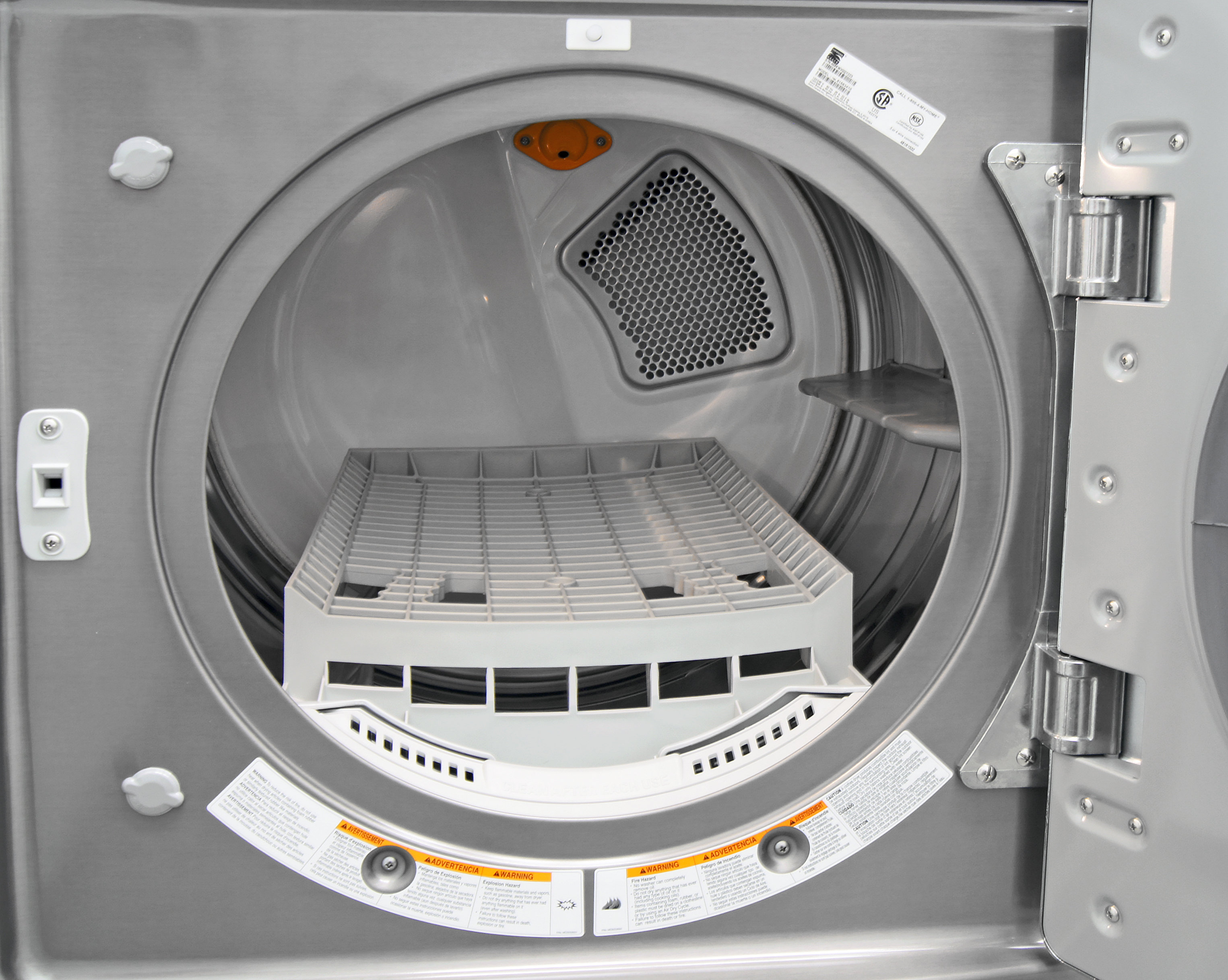 A stainless steel drum is expected for a high-end dryer like the Kenmore Elite 81583; the drying rack is an unexpected bonus.