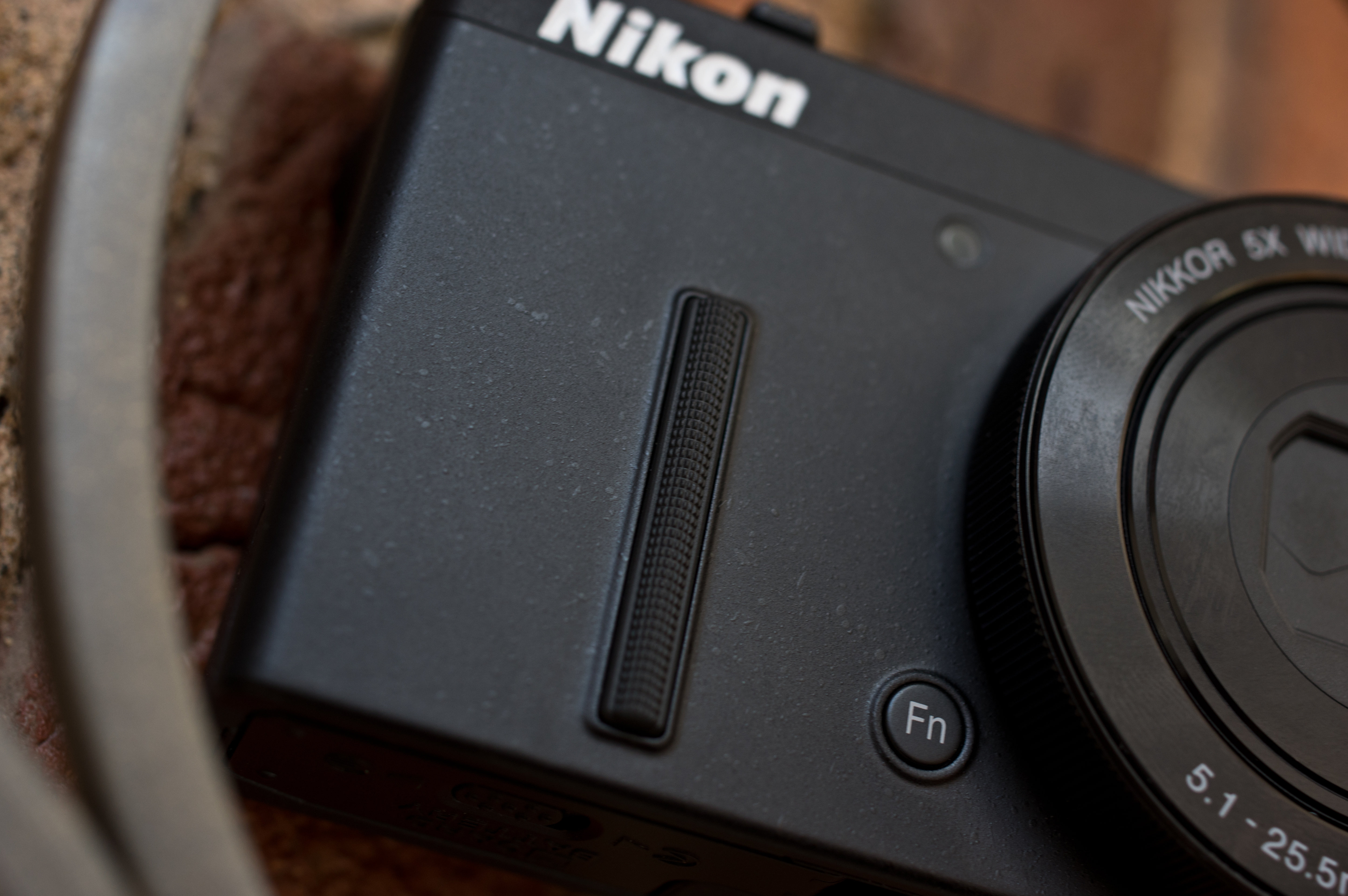 A photograph of the Nikon Coolpix P340's front grip.