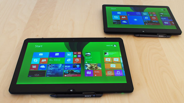 The Sony Vaio Flip 13 in tablet mode