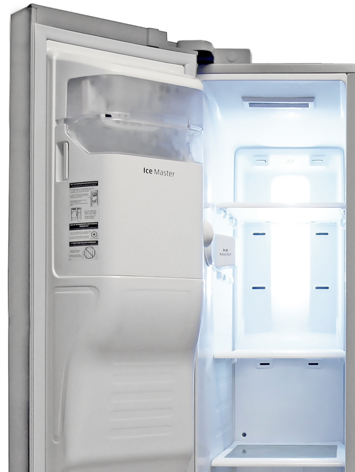 The Samsung RS25H5121SR's icemaker is fairly large, but takes up no space in the main compartment.