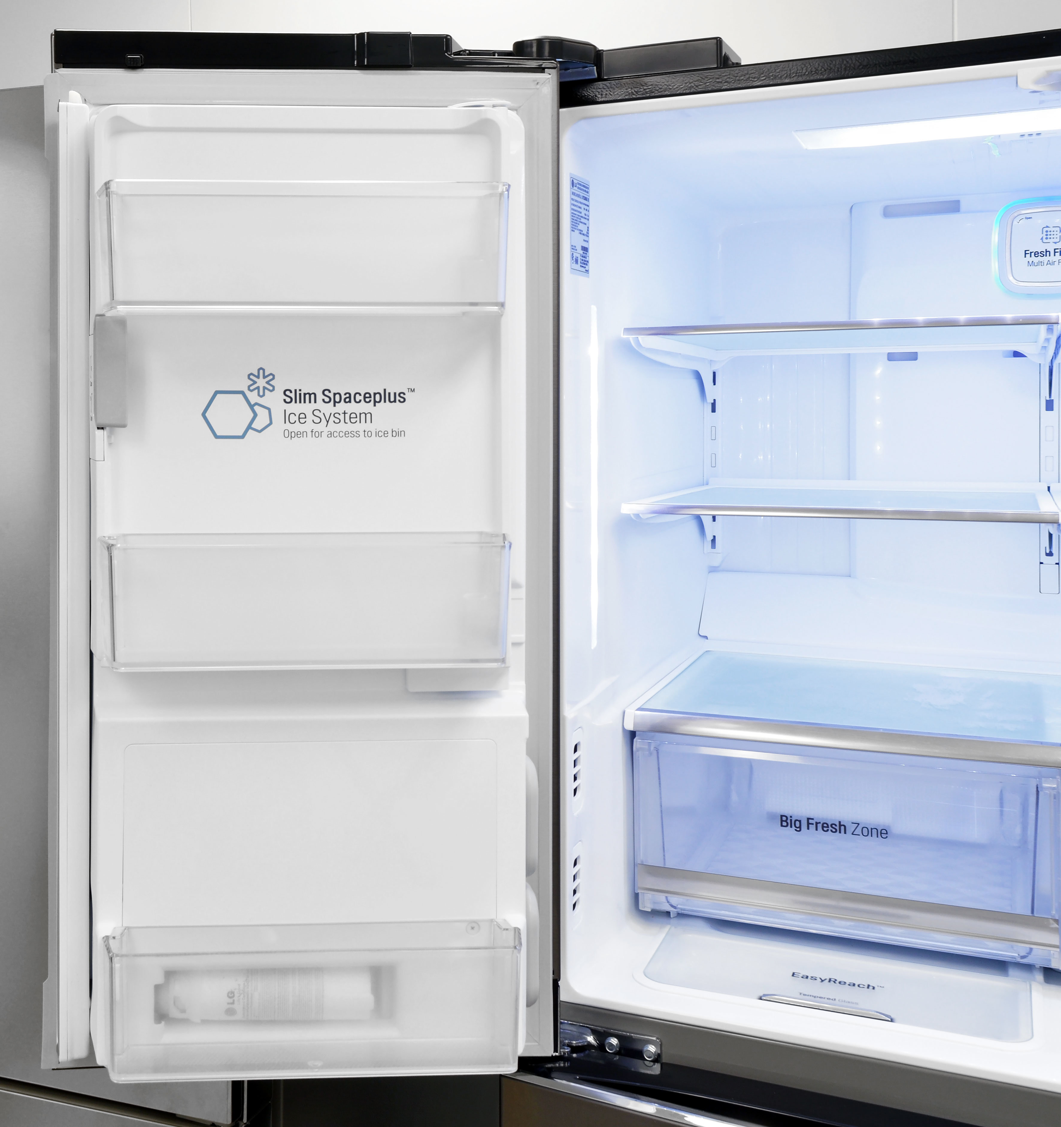 Door storage on the left side of the LG LPXS30866D's fridge is shallow, but still useful.