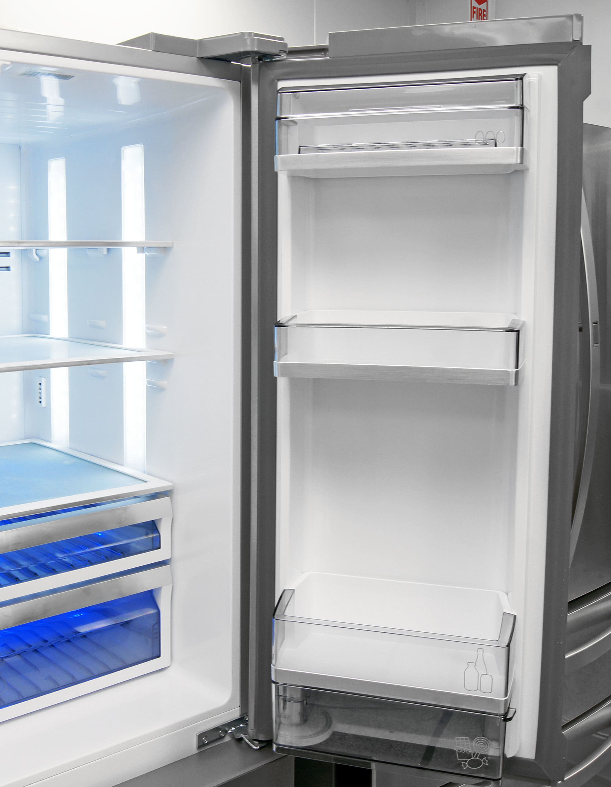 Even the bucket shelves on the Dacor DTF364SIWS's right fridge door are unadjustable.