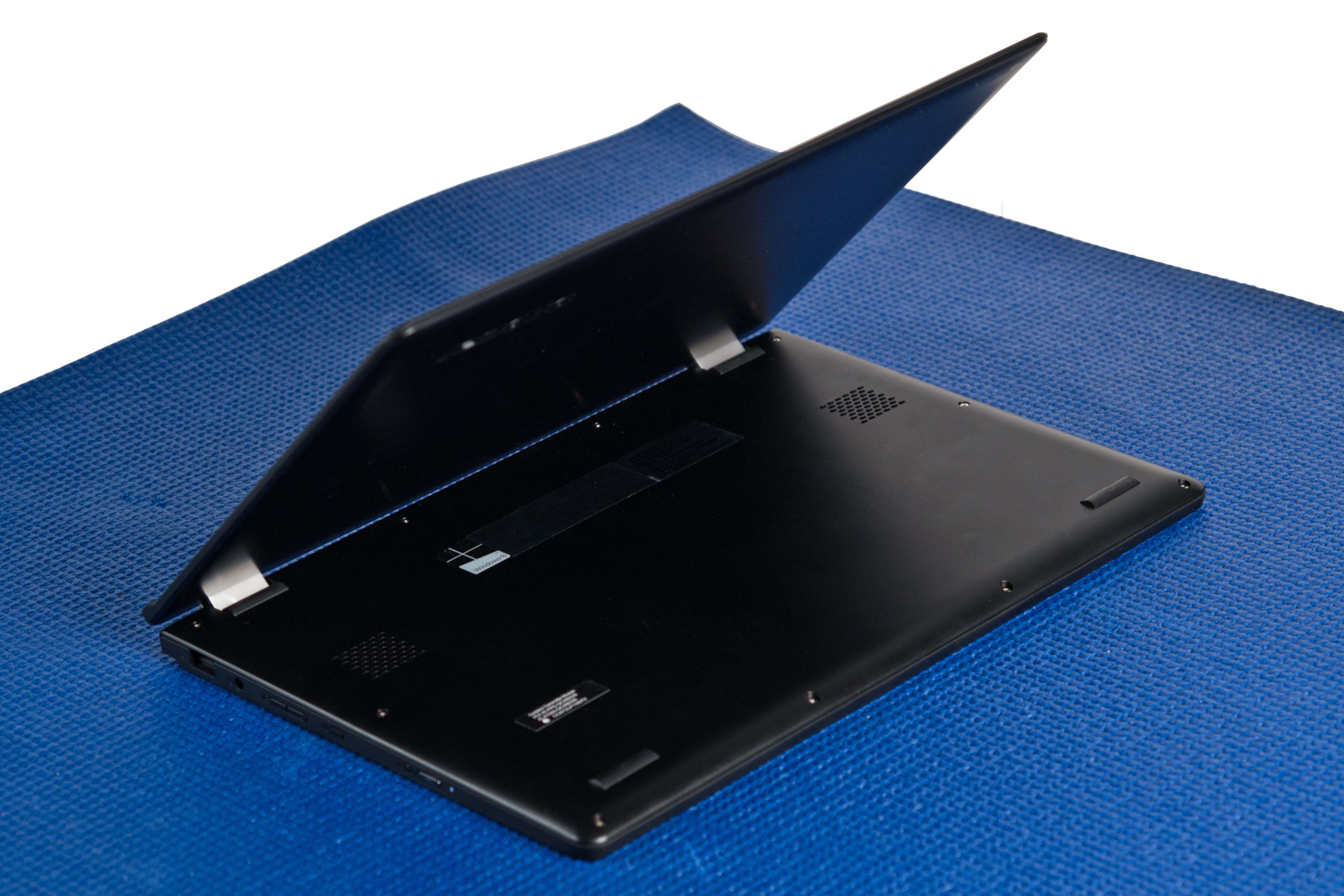 A picture of the Lenovo Yoga 2 11 from behind in cobra pose.