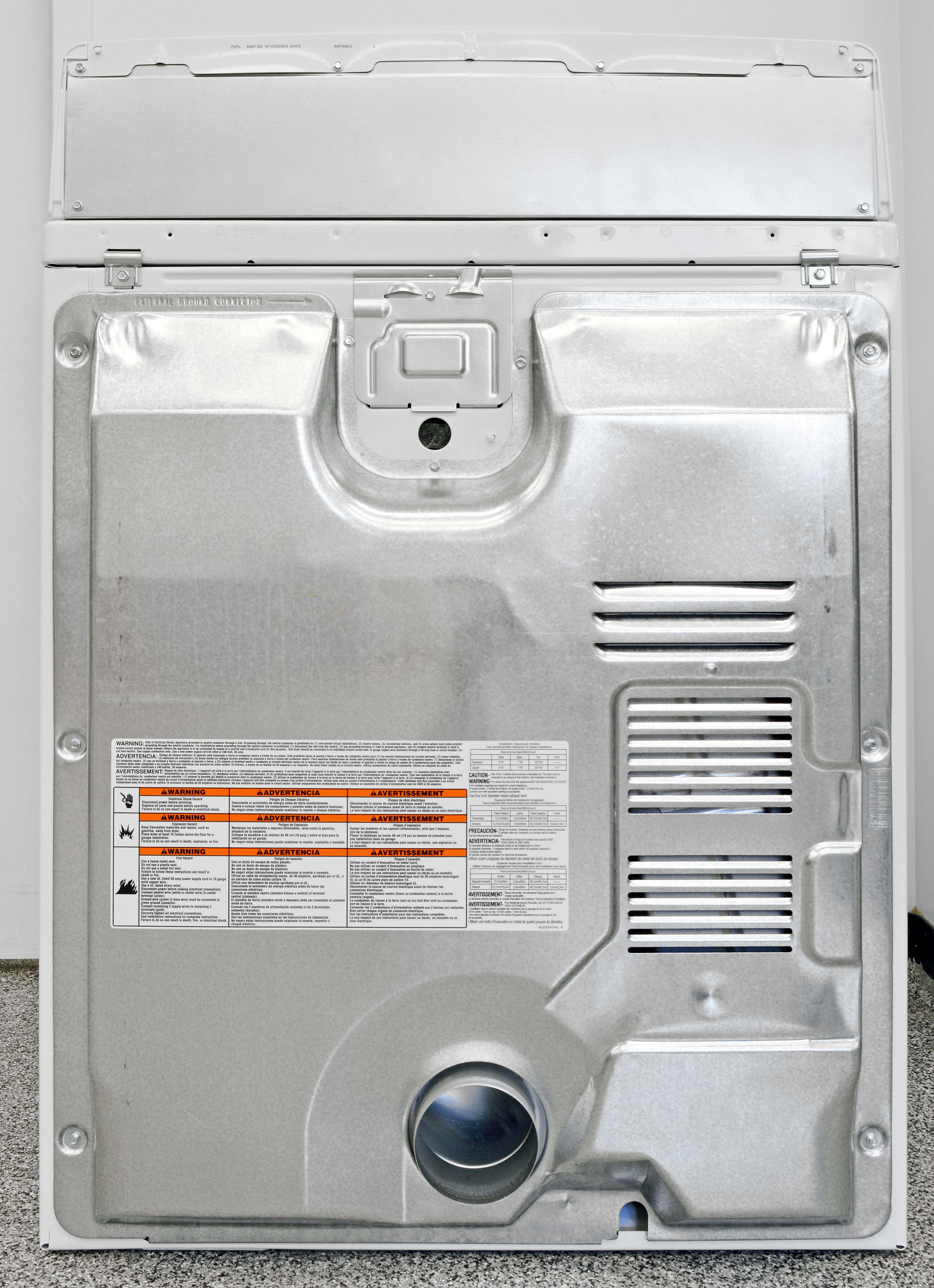 Without steam-centric features, there's nothing in the back of the Kenmore 62342 to deal with after set up.