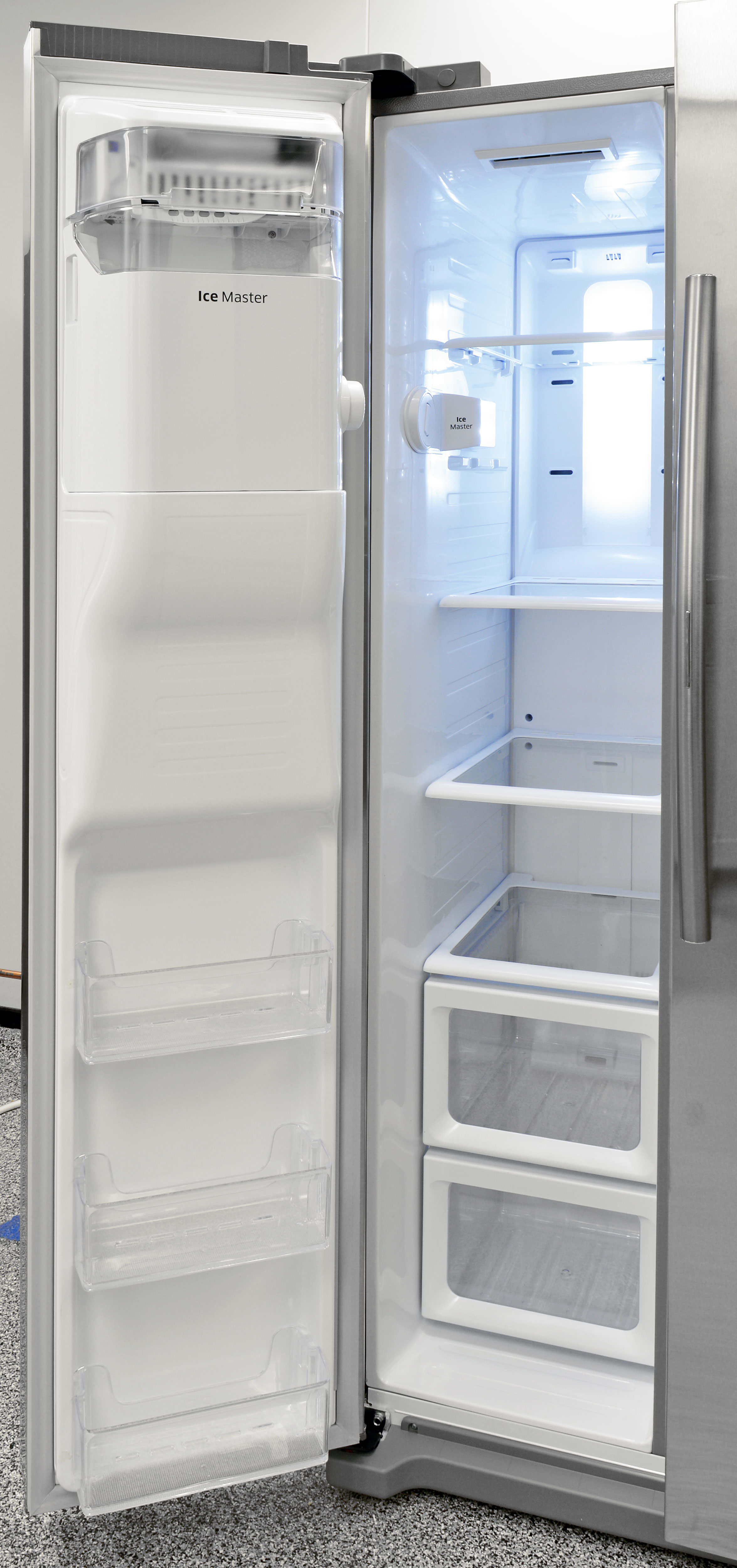 The Samsung RH25H5611SR's freezer section uses a basic mix of drawers and shelves.