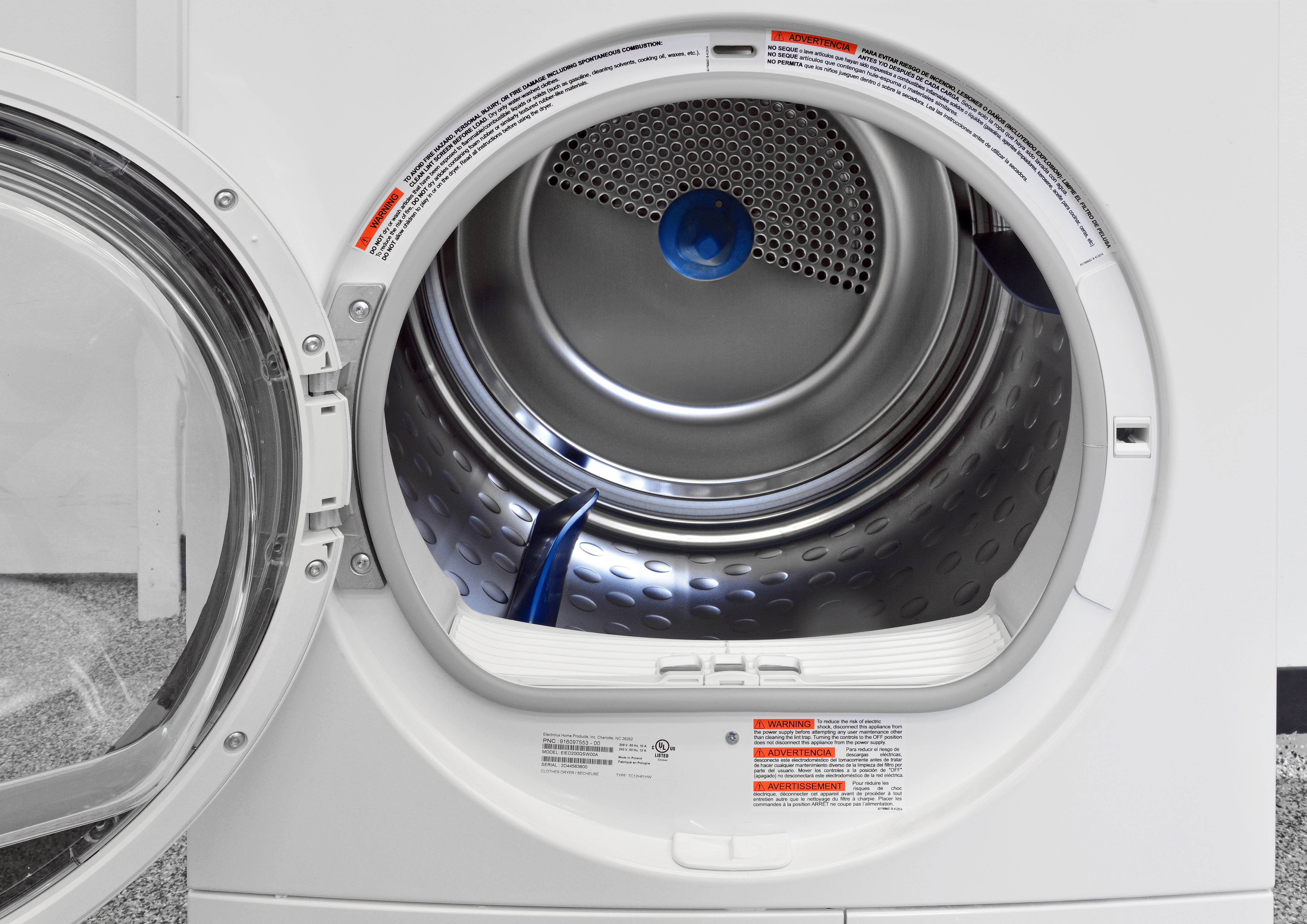 The Electrolux EIED200QSW's 4-cu.-ft. stainless steel drum is large for a compact.