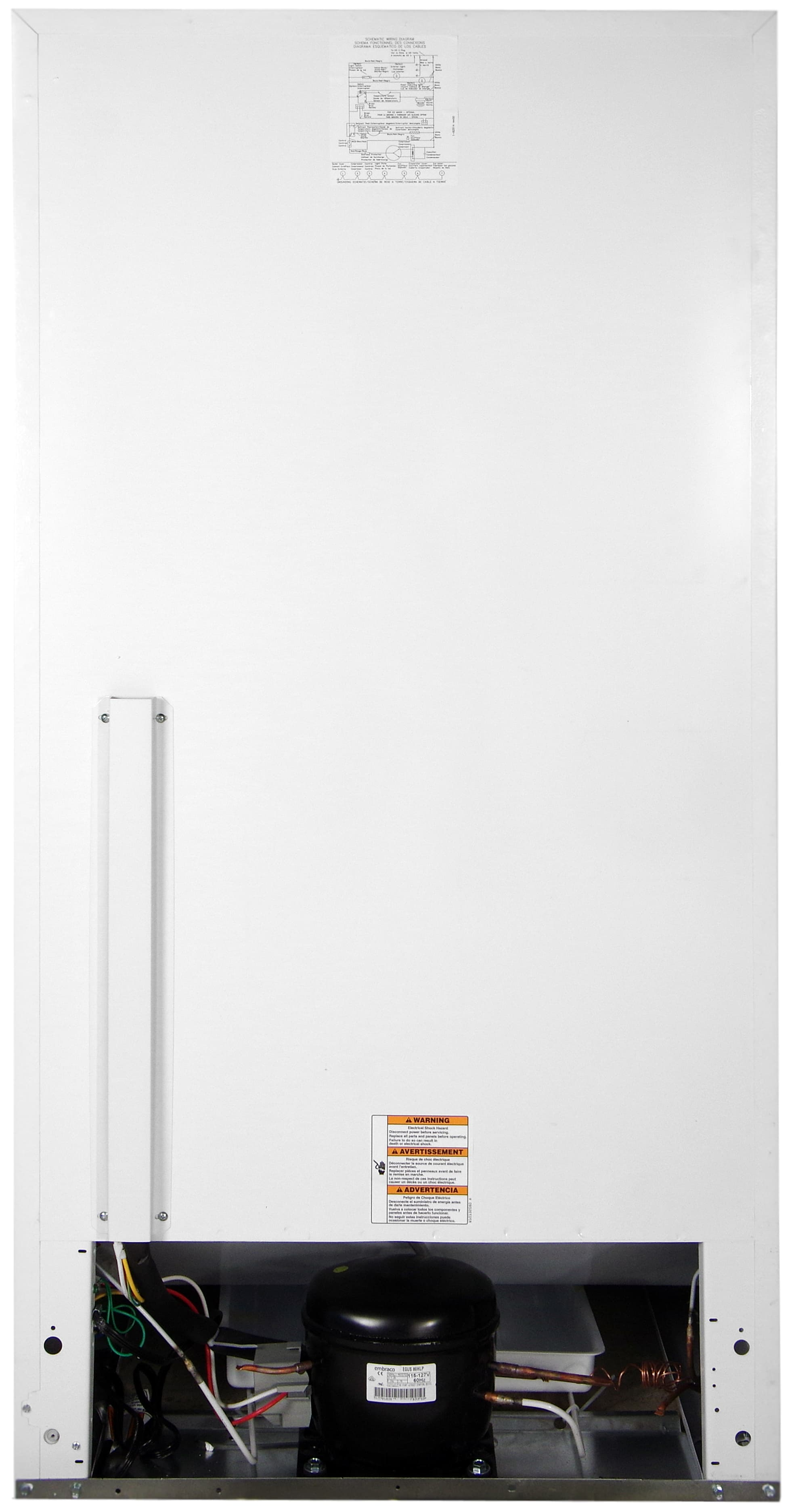 The inner workings of the Whirlpool EV160NZTQ freezer are exposed at the bottom.