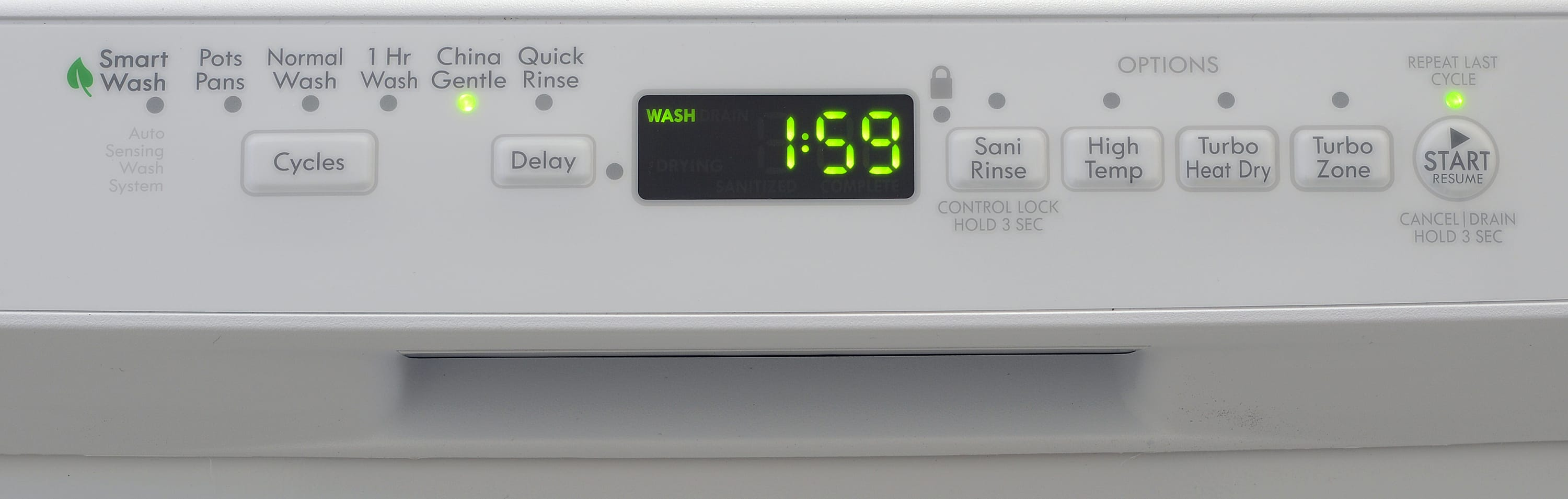 Kenmore 13202 front-facing control panel