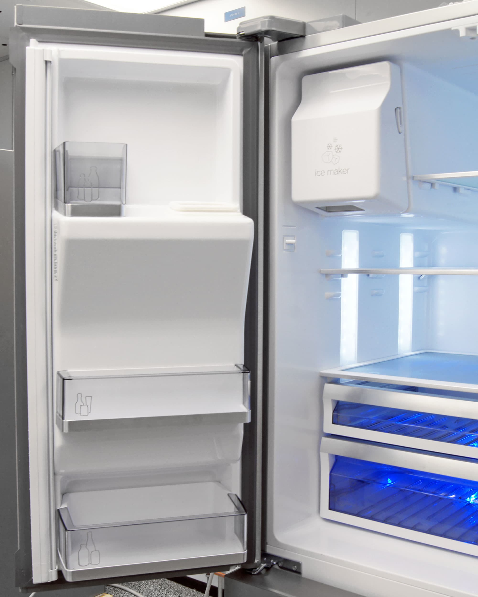 To accommodate the Dacor DTF364SIWS's icemaker, left door storage is pretty minimal.