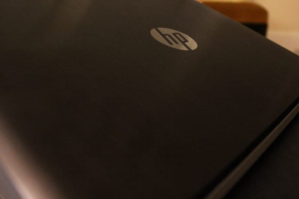HP's logo has a mirror-like finish on the Spectre's cover.