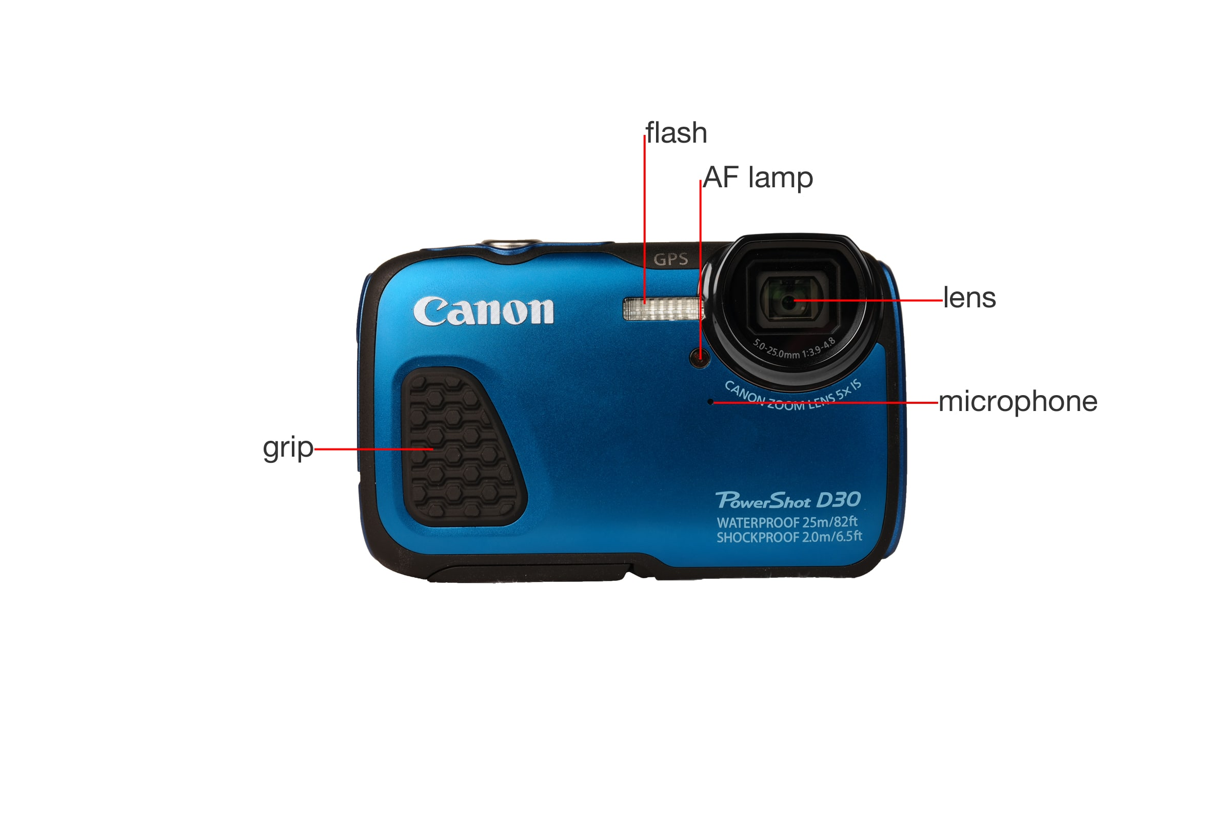 A closer look at the Canon PowerShot D30.