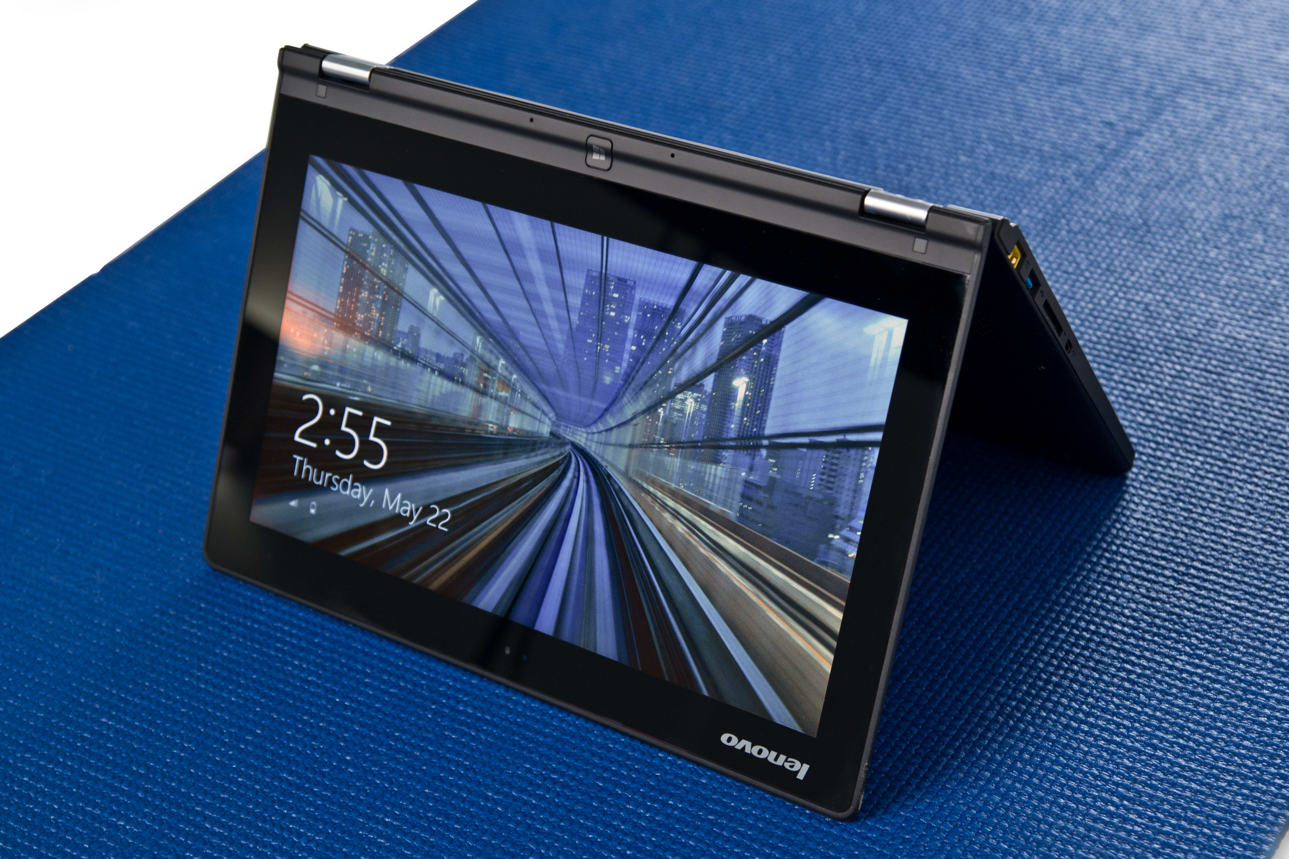 A picture of the Lenovo Yoga 2 11 in tent mode.
