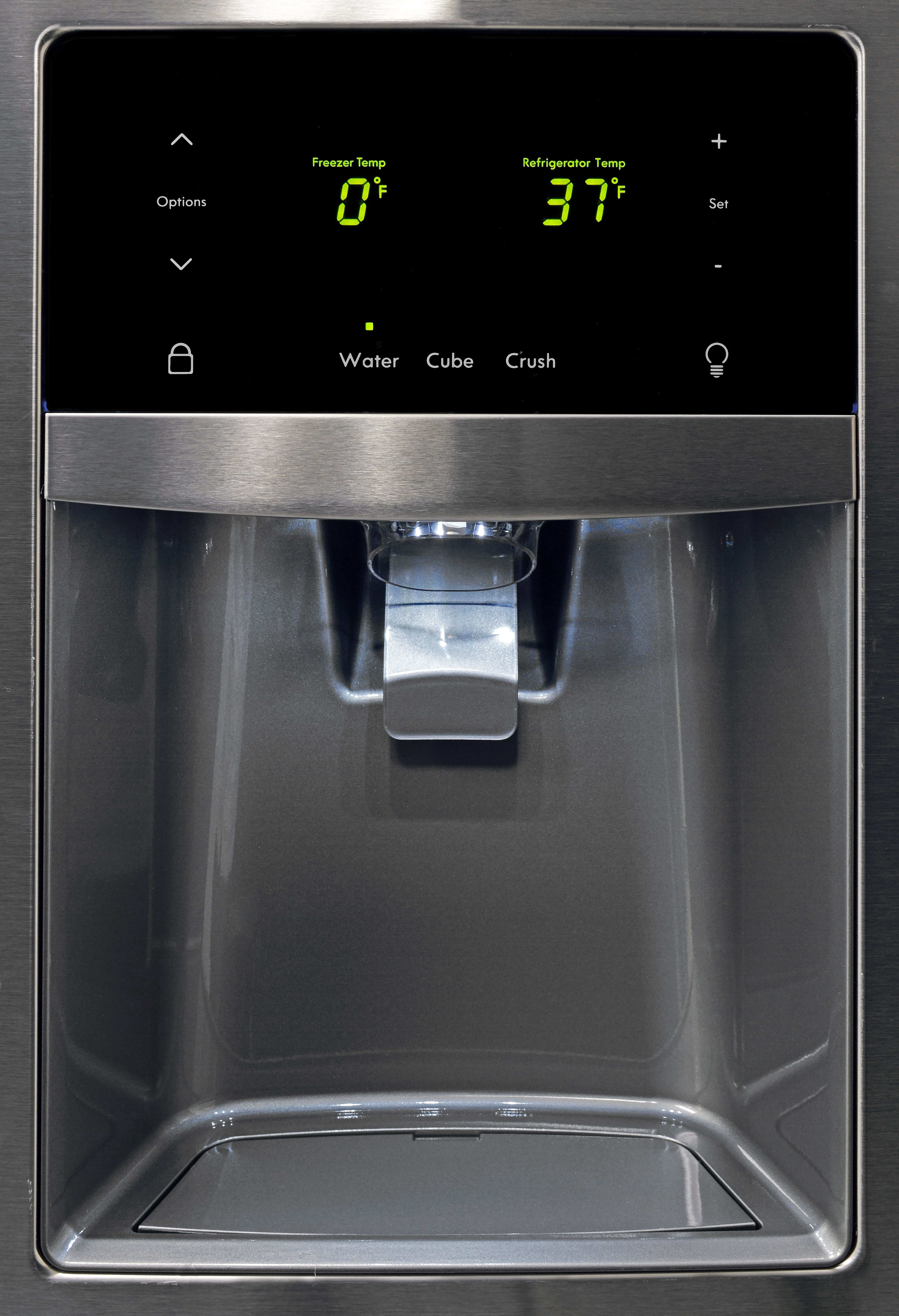 The Kenmore 70343's dispenser cavity is more than large enough to accommodate a standard drinking glass.