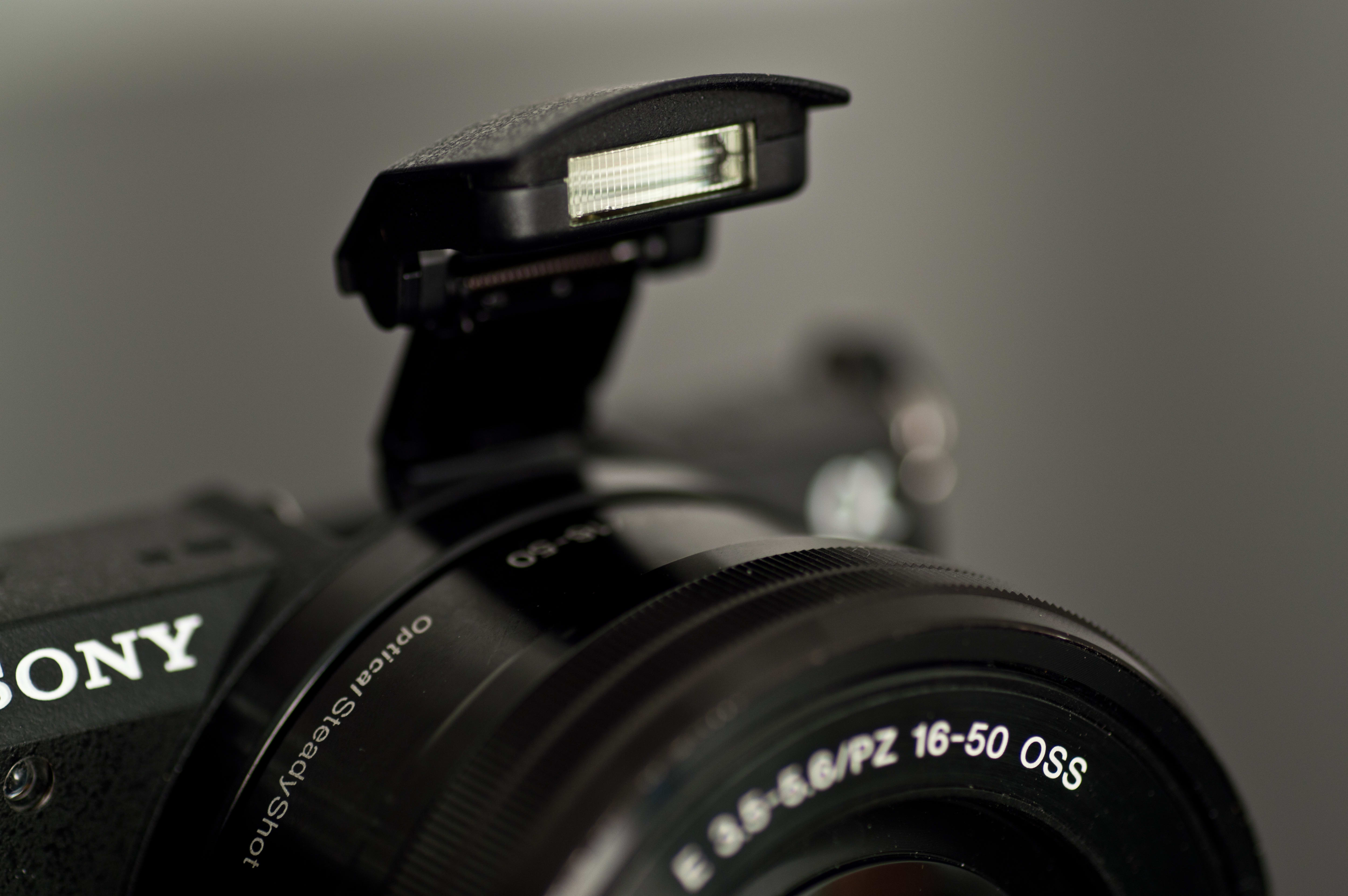 A photo of the pop-up flash on the A5100.