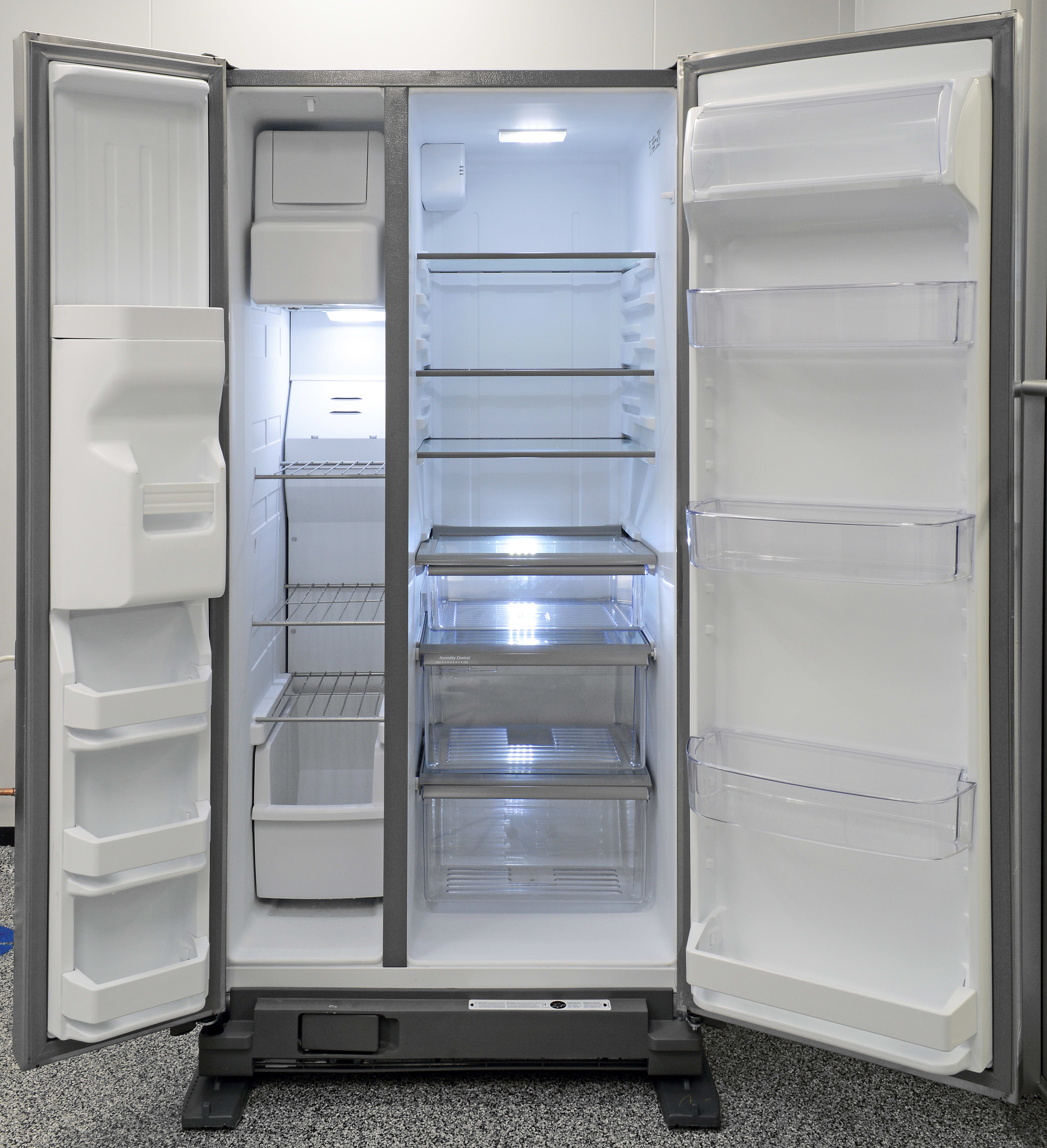 Lots of adjustable shelves with silvery trim give the Maytag MSF21D4MDM a high-end look.