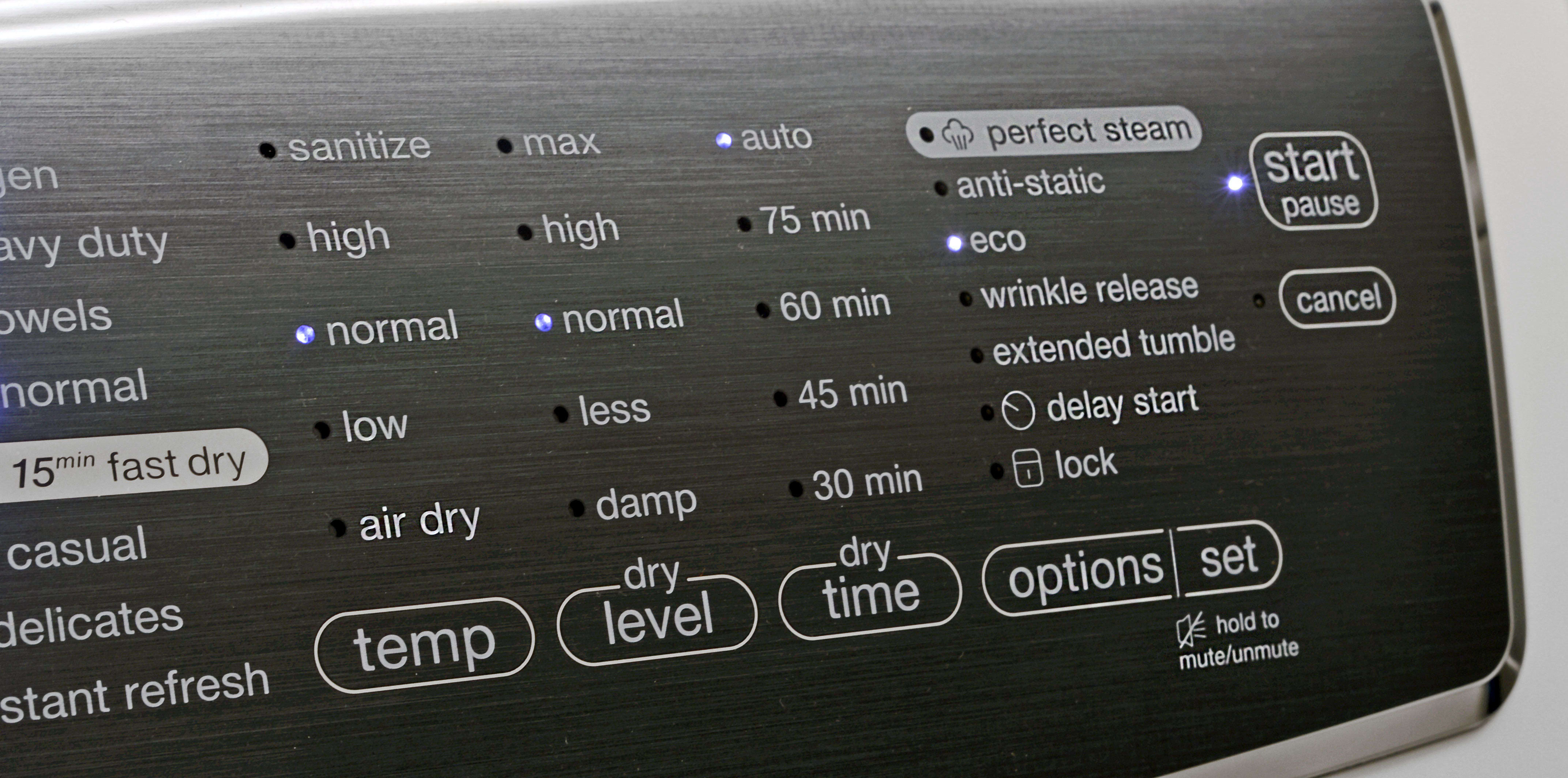 The Electrolux EFME617SIW's console looks great, but one-directional scrolling makes for a cumbersome interface.