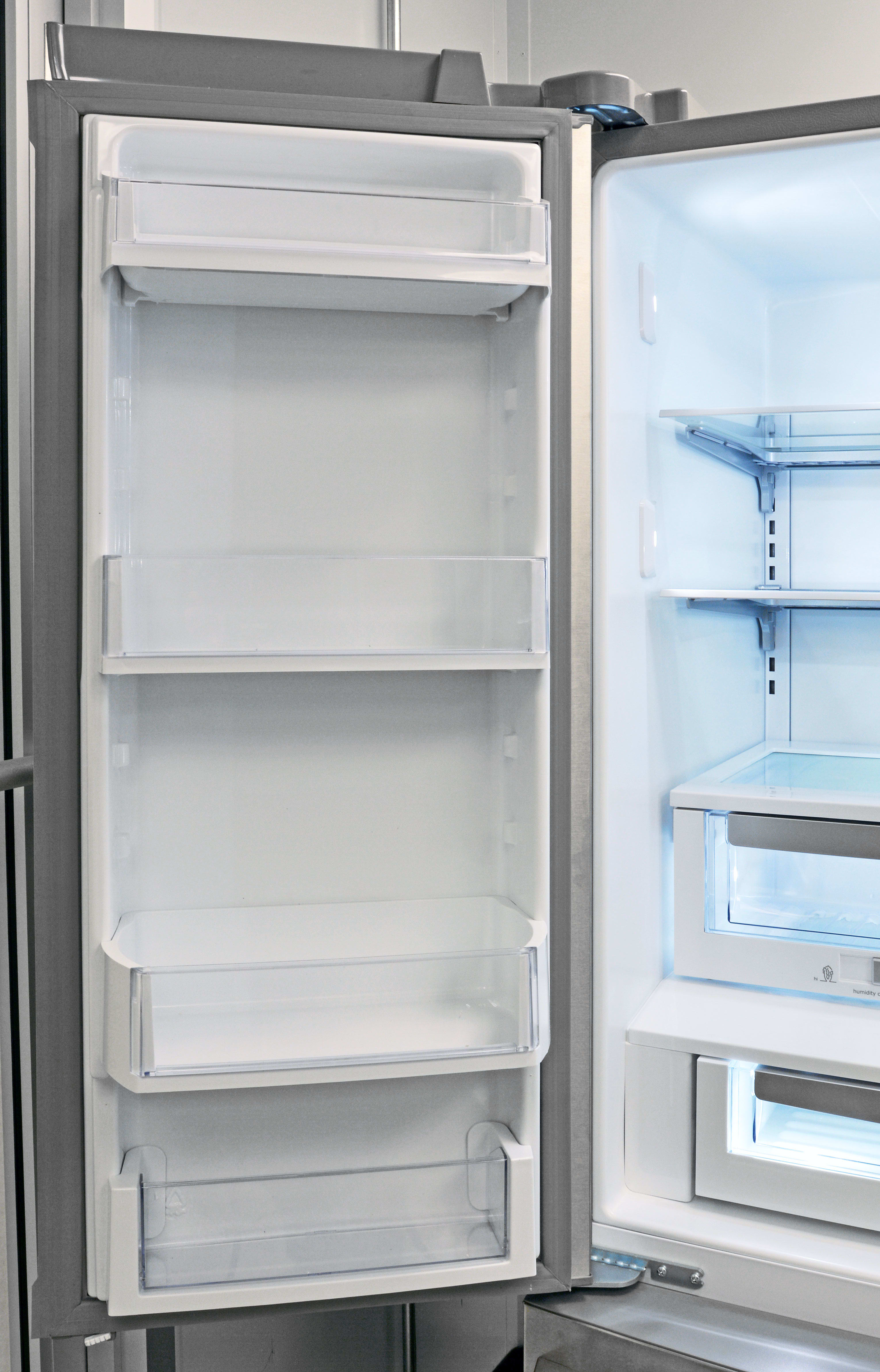 Models that lack a through-the-door dispenser has door shelving on the left that mirrors what you get on the right.
