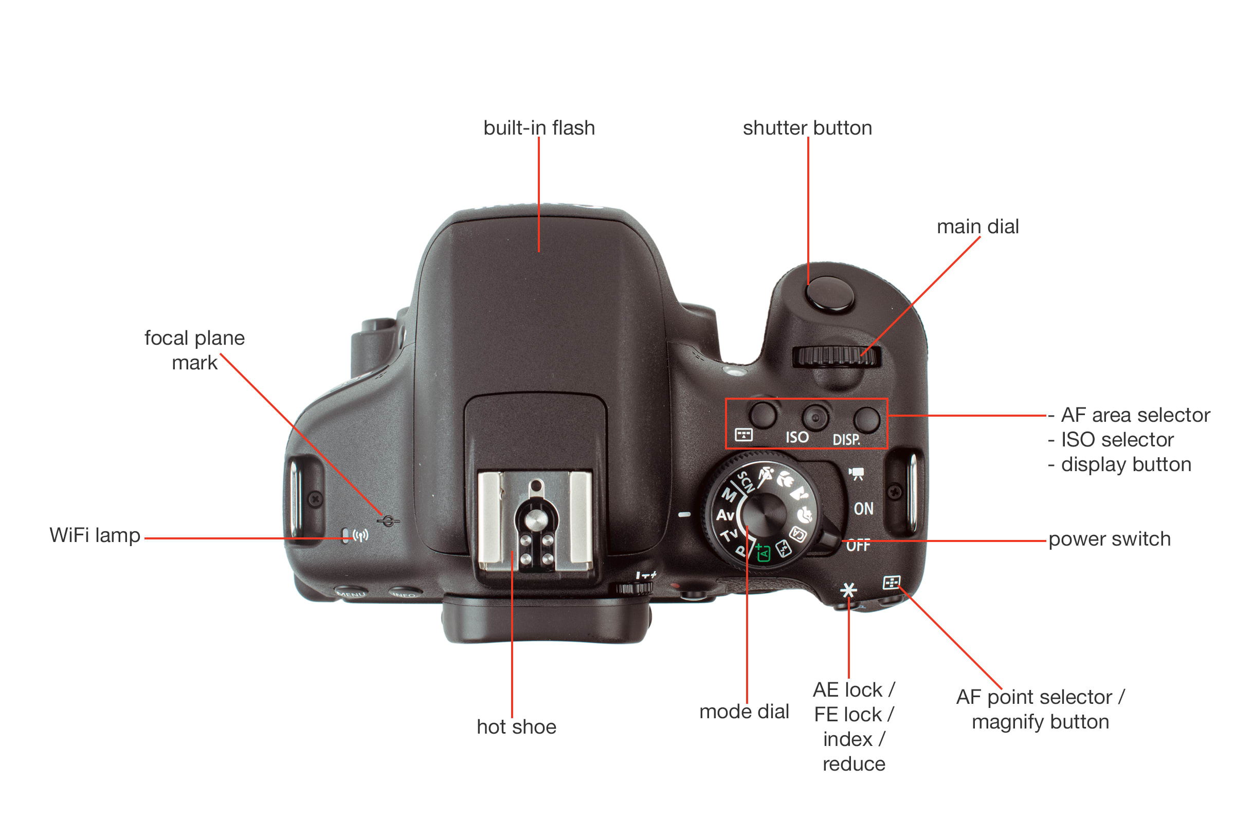 Top view of the Canon T6i.