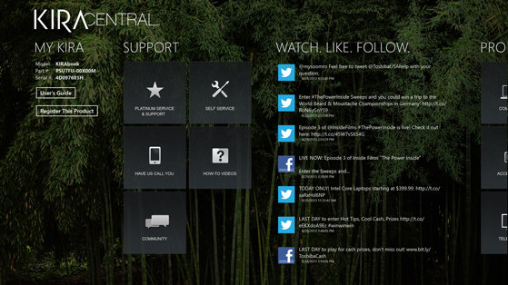 KIRAcentral includes info about the laptop and support for drivers.