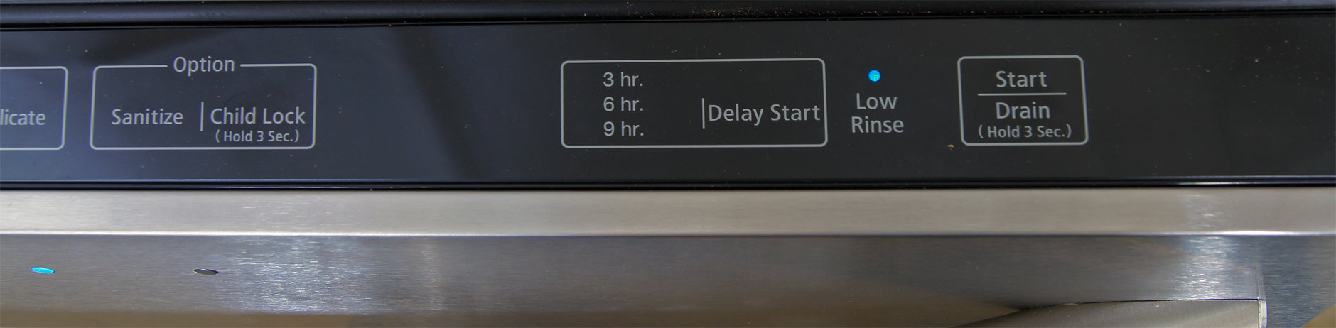 Right side of the Samsung DW80F600UTS's control panel