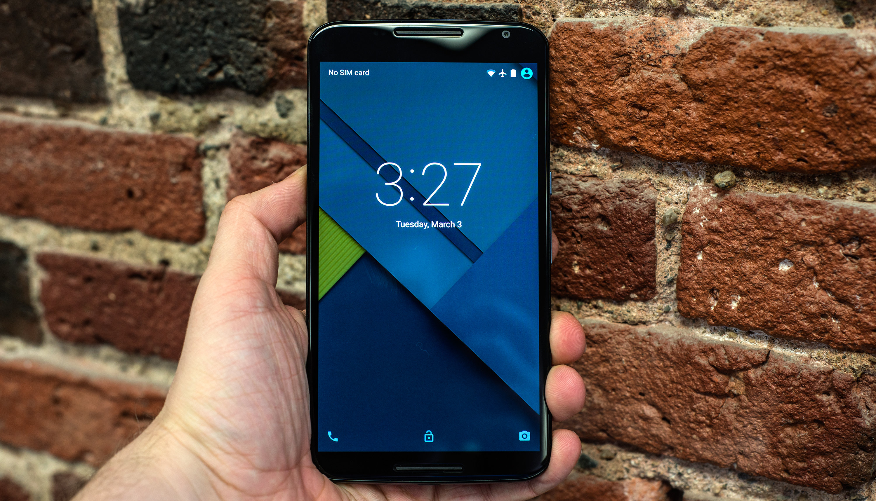 A photo of the Google Nexus 6 in a hand.