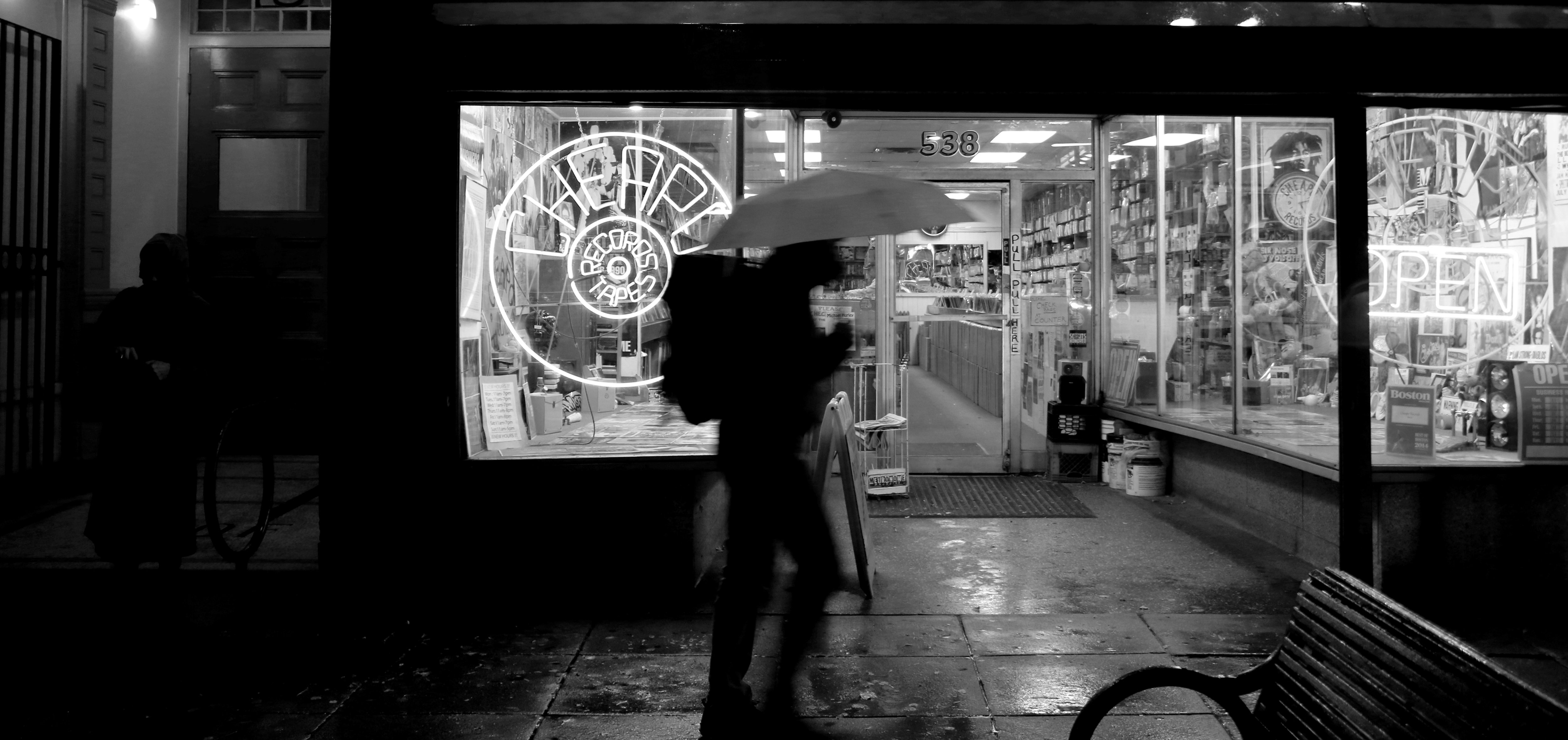 The 7D Mark II handled being stuck in a downpour perfectly, letting us get this shot in front of a record store.