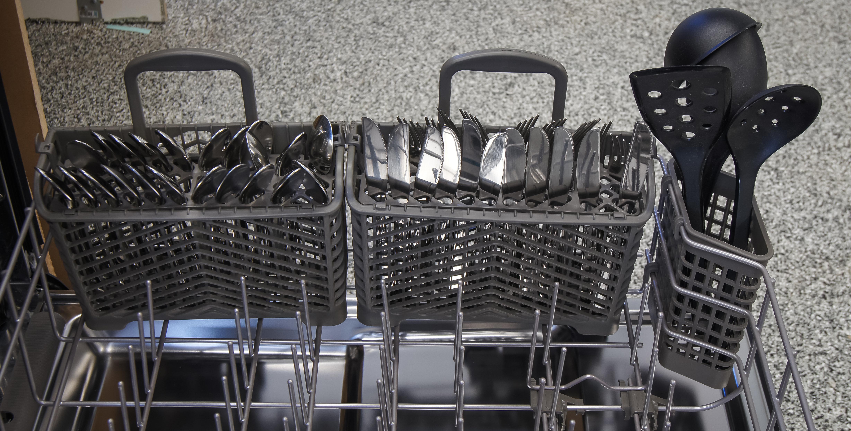KitchenAid KDTM354DSS cutlery basket loaded