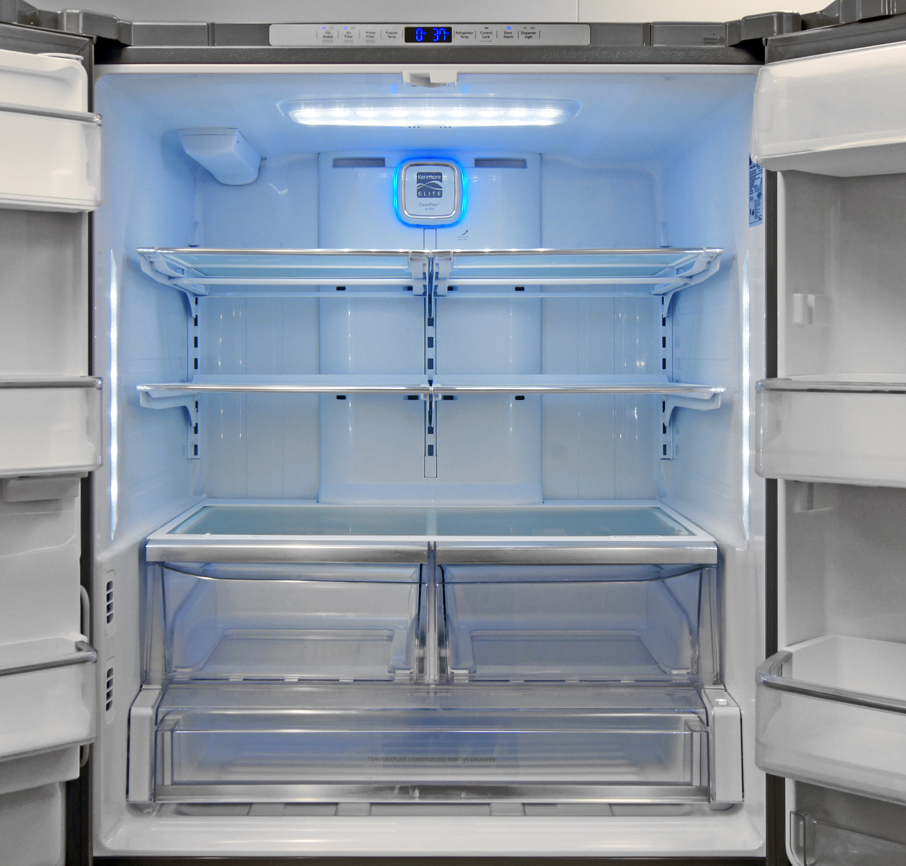 LED illumination and predominantly white plastic give the Kenmore Elite 74025 a bright, clean look.