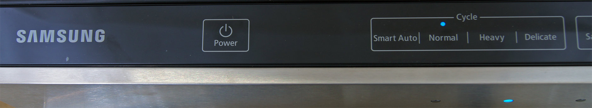 Left side of the Samsung DW80F600UTS's touch-sensitive control panel