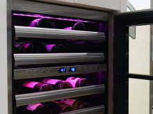 Variable Color LED-Lit Wine Cabinet