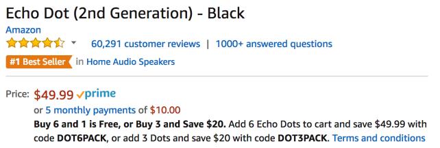 Echo Dot Listing